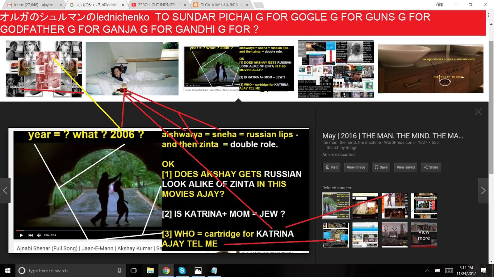 オルガのシュルマンのlednichenko TO SUNDAR PICHAI G FOR GOGLE G FOR GUNS G FOR GODFATHER G FOR GANJA G FOR GANDHI G FOR