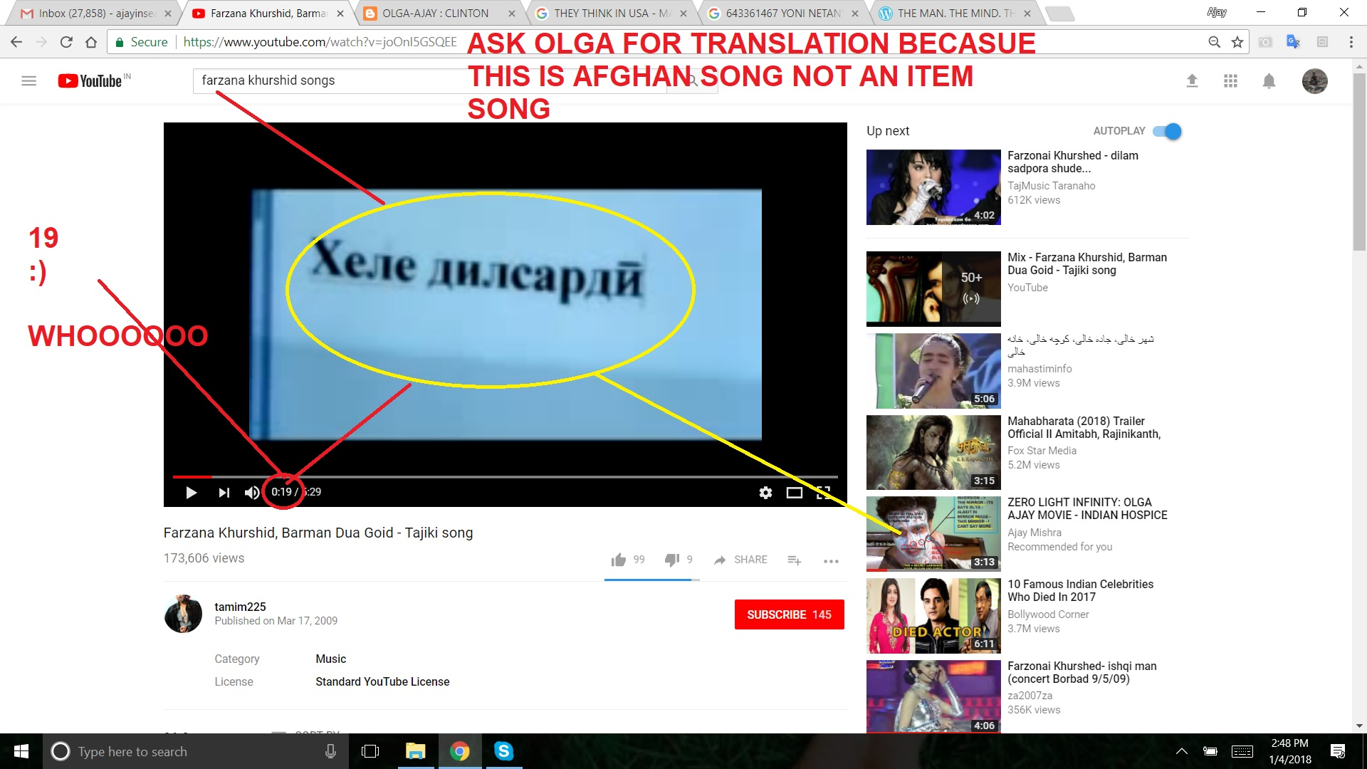 OLGA FARZANA SONG -ASK OLGA FOR TRANSLATION BECAUSE THIS IS AFGHAN SONG NOT AN ITEM SONG