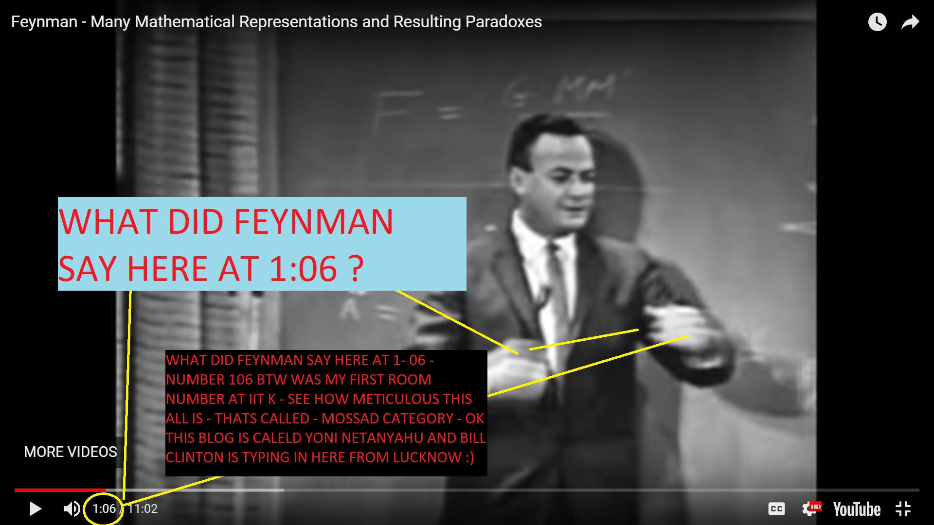 WHAT DID FEYNMAN SAY ON NUMBERS IN HERE AT 106