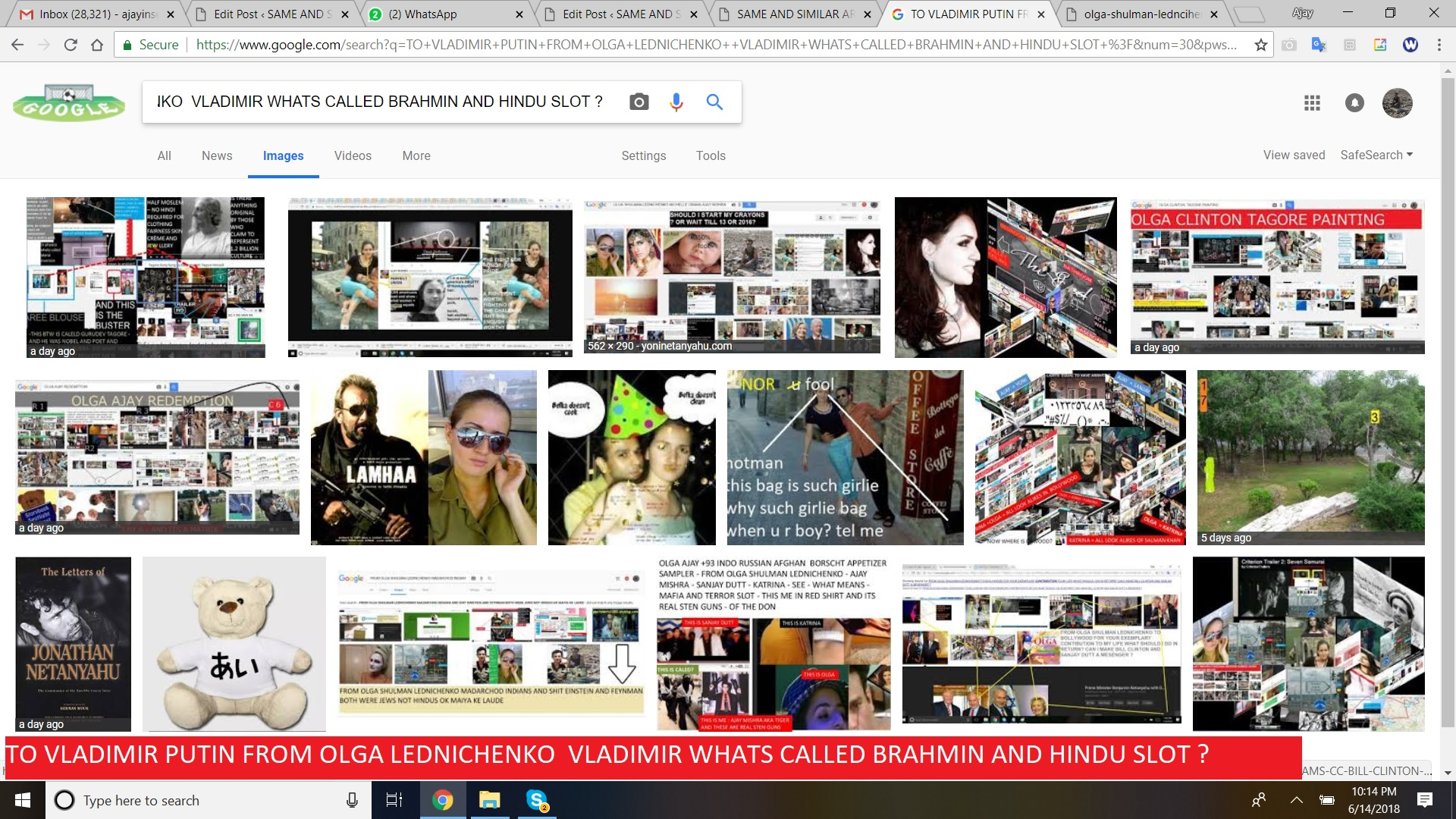 TO VLADIMIR PUTIN FROM OLGA LEDNICHENKO VLADIMIR WHATS CALLED BRAHMIN AND HINDU SLOT