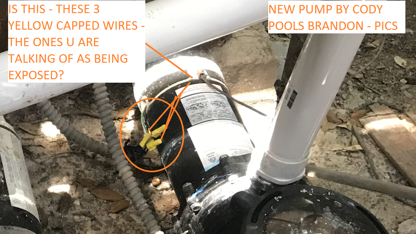 NEW PUMP BY CODY POOLS CONTACTOR BRANDON AND NEW FILTER BY CONTARCTOR LESLIES POOOLS PHOTO JULY 27 2018 - IS THIS - THE EXPOSED WIRE U ARE CONCERNED ABOUT