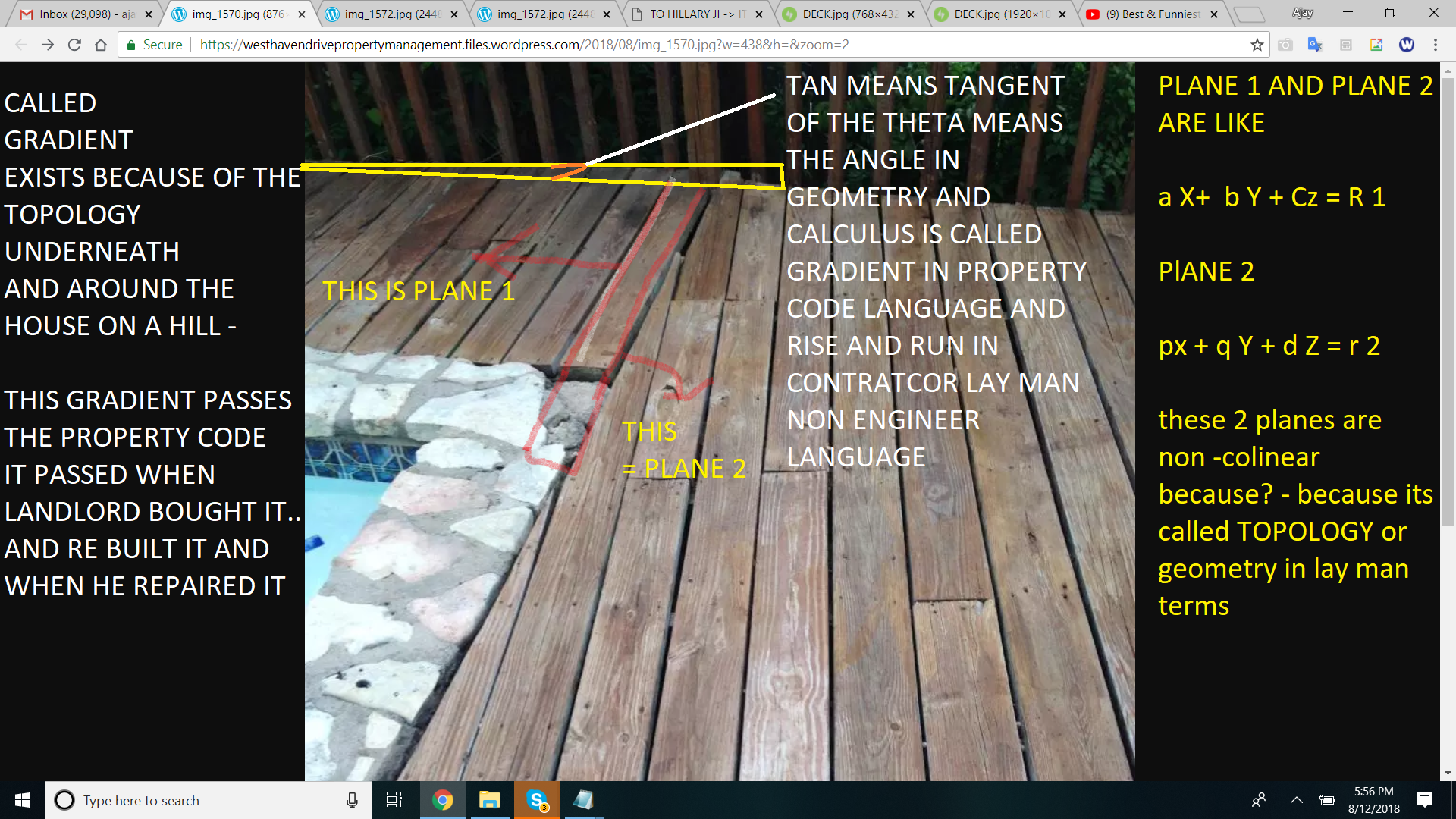 TAN MEANS TNGENT OF THE THETA MEANS THE ANGLE IN GEOMETRY AND CALCULUS IS CALLED GRADIENT IN PROPERTY CODE LANGUAGE AND RISE AND RUN IN CONTRATCOR LAY MAN NON ENGINEER LANGUAGE