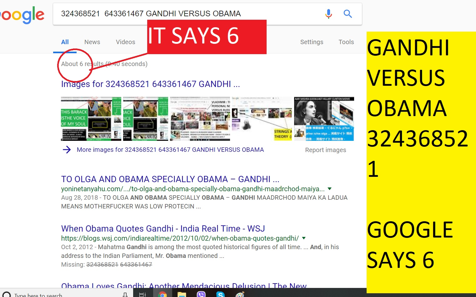 GANDHI VERSUS OBAMA GOOGLE SAYS 6 THANKS GOOGLE AND EVERYONE -