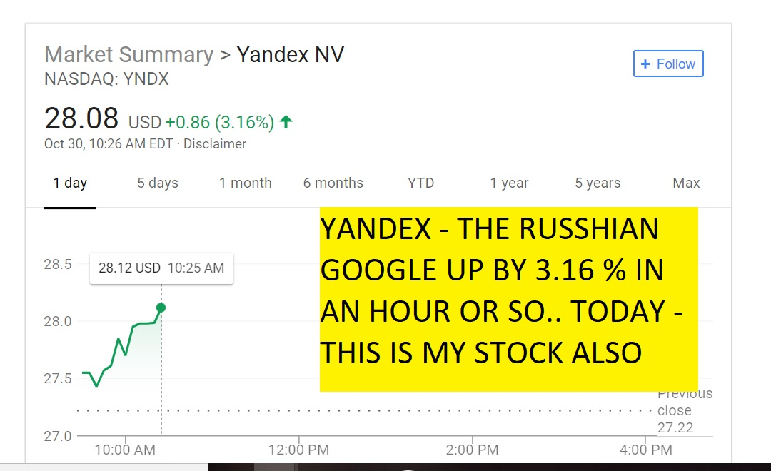 YNDX UP 3 PERCENT TODAY IN ONE HOUR YANDEX - THE RUSSHIAN GOOGLE UP BY 3.16 % IN AN HOUR OR SO.. TODAY - THIS IS MY STOCK ALSO