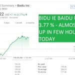 BIDU IE BAIDU UP BY 3.77 - ALMOST 4 UP IN FEW HOURS TODAY