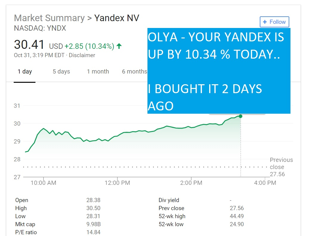 OLYA - YOUR YANDEX IS UP BY 10.34 % TODAY..
