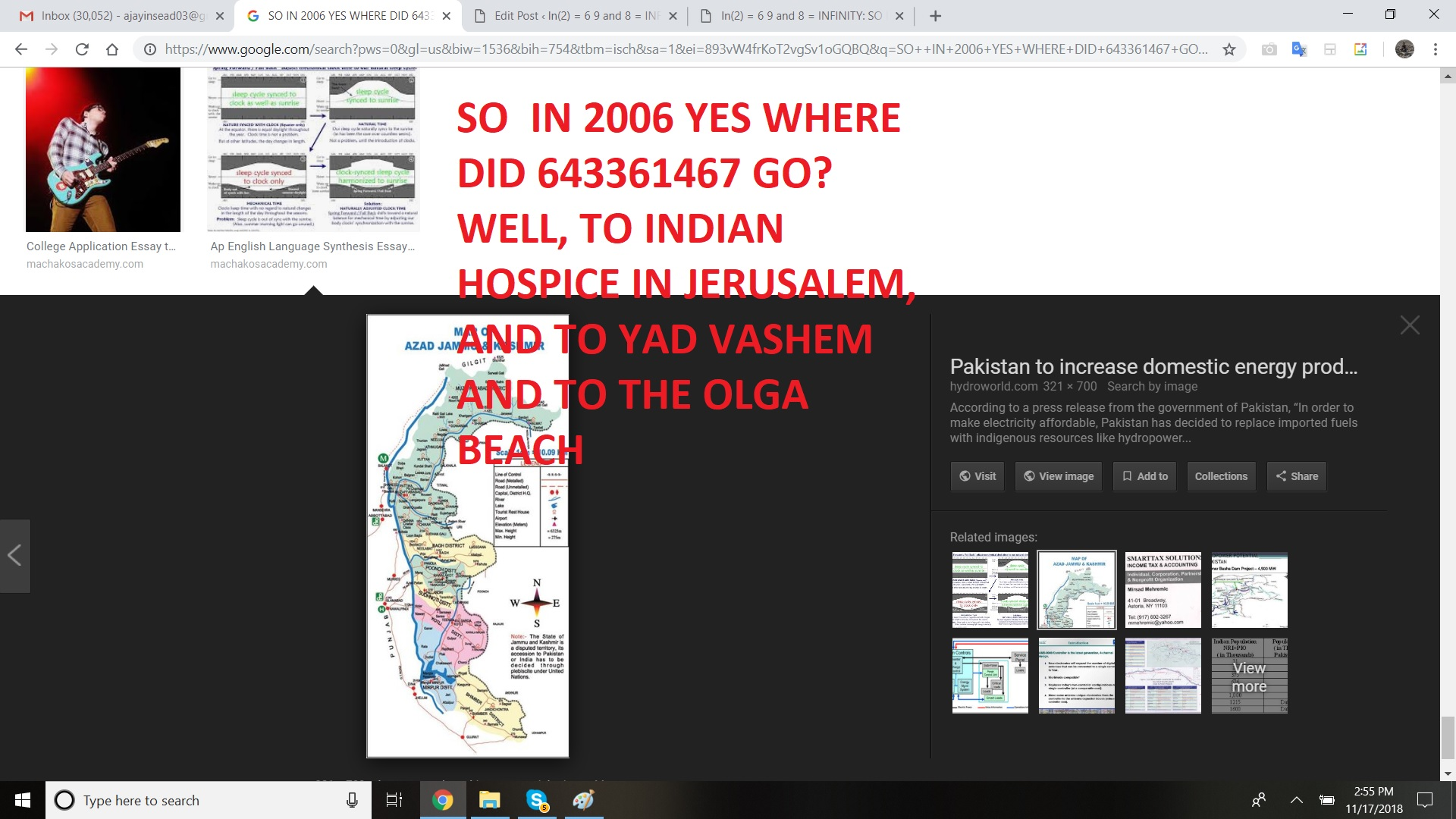 SO IN 2006 YES WHERE DID 643361467 GO WELL, TO INDIAN HOSPICE IN JERUSALEM, AND TO YAD VASHEM AND TO THE OLGA BEACH