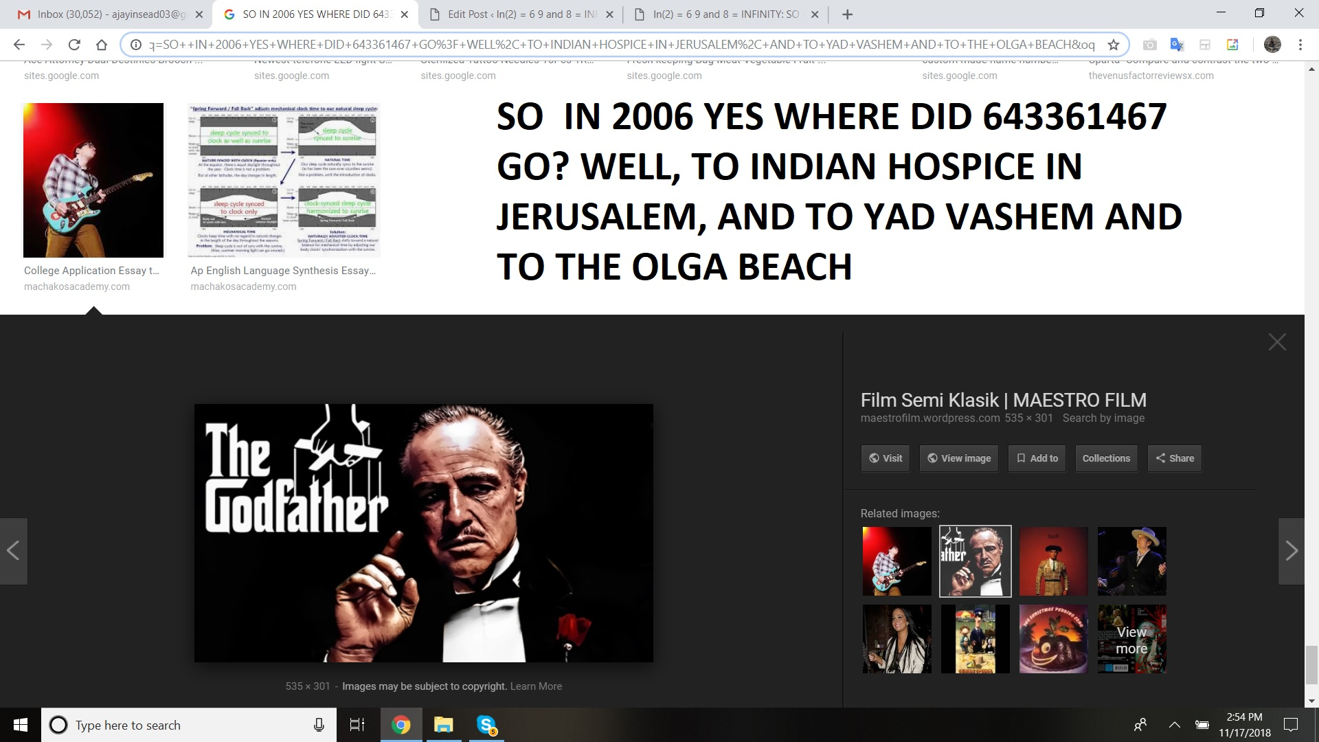SO WHERE DID U GO - REFERENCE 2006 ISRAEL - OK NOW U KNOW SO IN 2006 YES WHERE DID 643361467 GO WELL, TO INDIAN HOSPICE IN JERUSALEM, AND TO YAD VASHEM AND TO THE OLGA BEACH