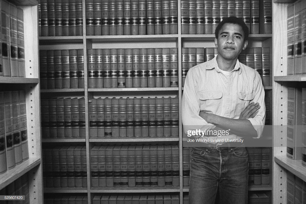 Barack Obama, graduate of Harvard Law School '91, is photographed on campus after was named head of the Harvard Law Review in 1990. (Photo by Joe Wrinn/Harvard University/Corbis via Getty Images)