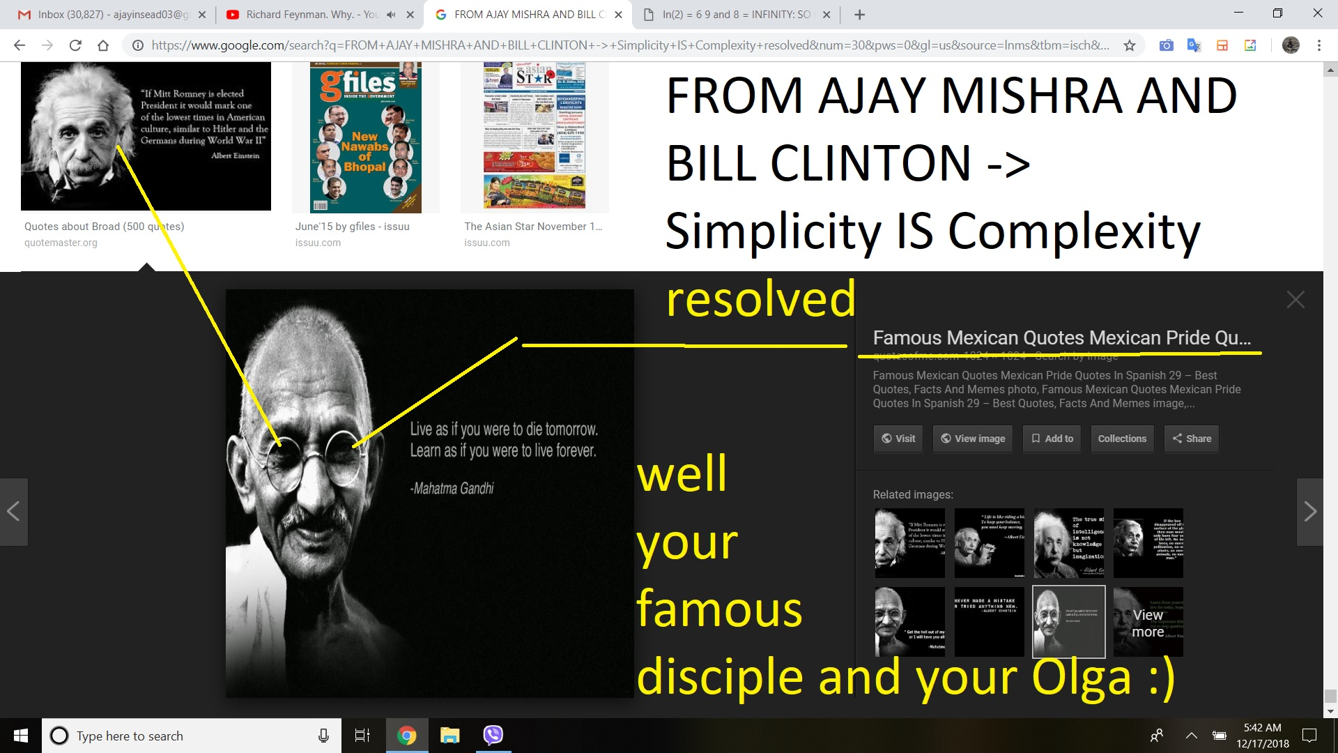 FROM AJAY MISHRA AND BILL CLINTON Simplicity IS Complexity resolved