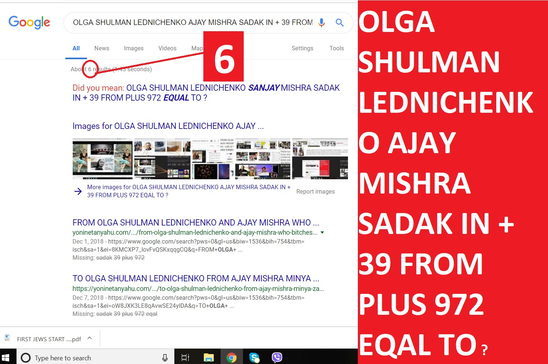 OLGA SHULMAN LEDNICHENKO AJAY MISHRA SADAK IN + 39 FROM PLUS 972 EQAL TO