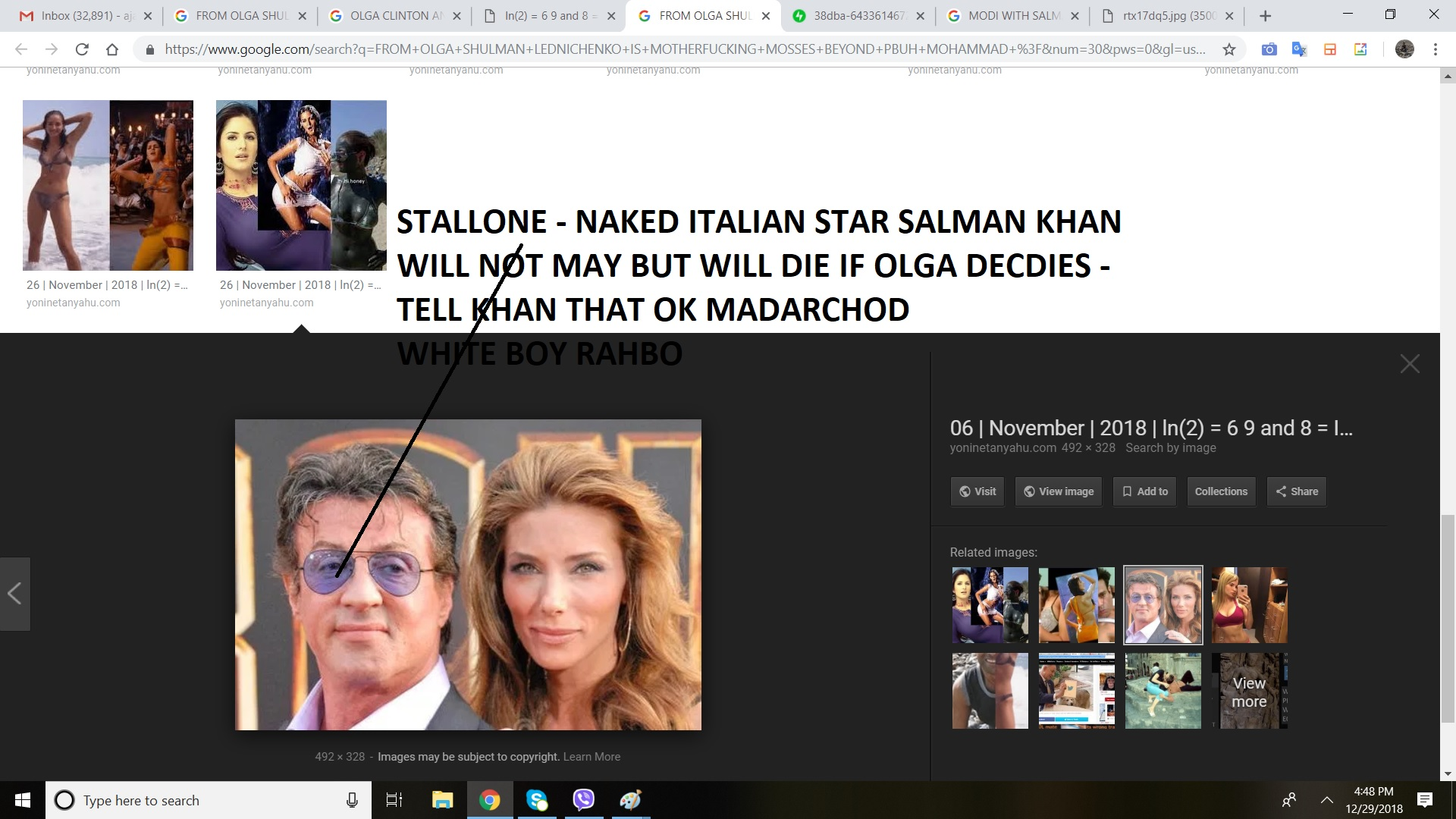 STALLONE - NAKED ITALIAN STAR SALMAN KHAN WILL NOT MAY BUT WILL DIE IF OLGA DECDIES - TELL KHAN THAT OK MADARCHOD