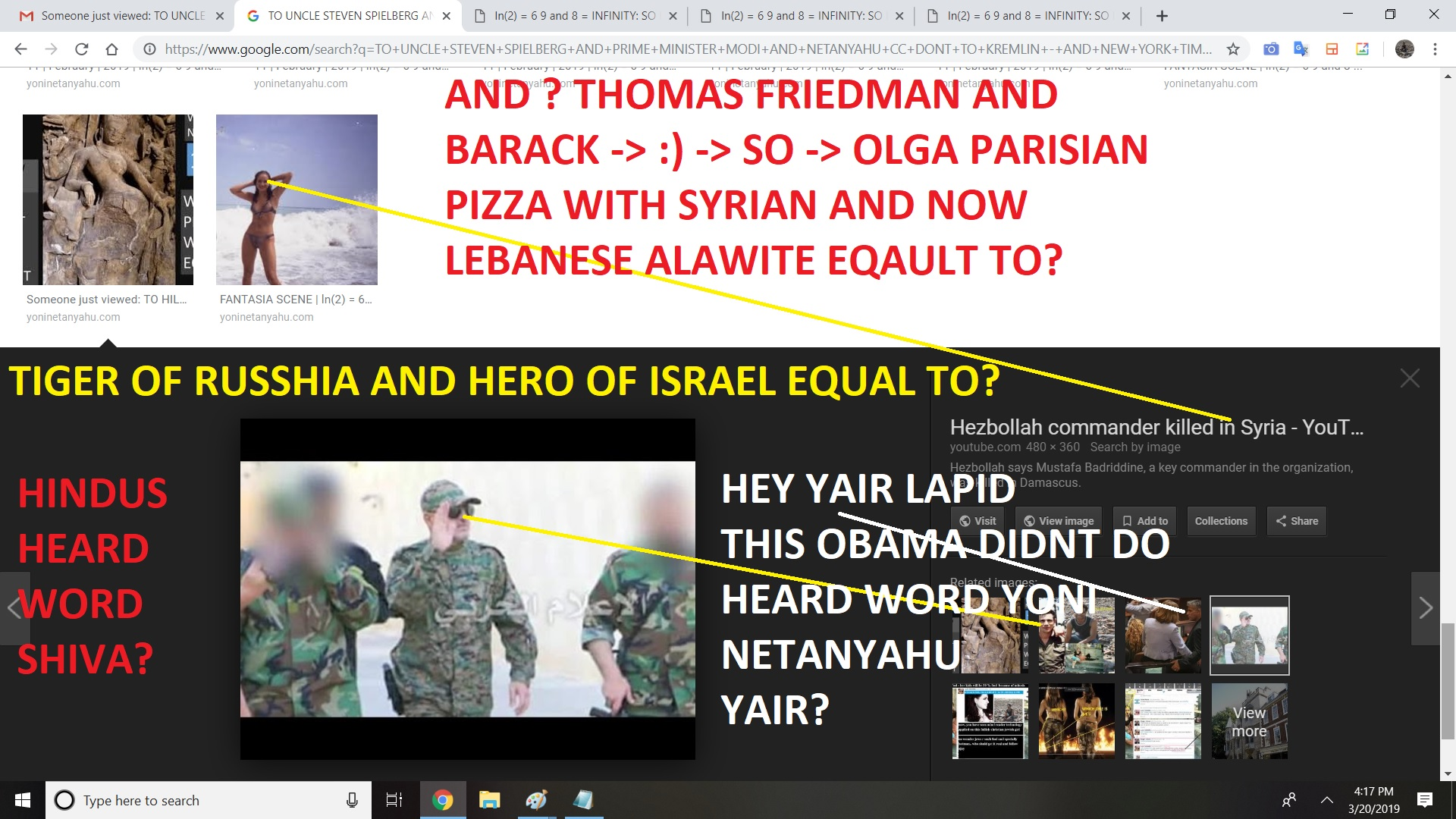 FROM OLGA SHULMAN LEDNCIHENKO TO OBAMA AND THOMAS FRIEDMAN AND WHATS THEIR NAMES SIARELIES SPECIALLY LIVNI AND YAIR LAPID AND BENNY GANTZ