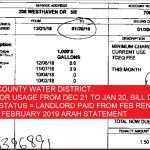 JAN 20, 2019 WATER BILL FOR $30.15 BILL PAID DEDUCTED FROM RENT MATCHES WITH EVELYN'S INVOICE