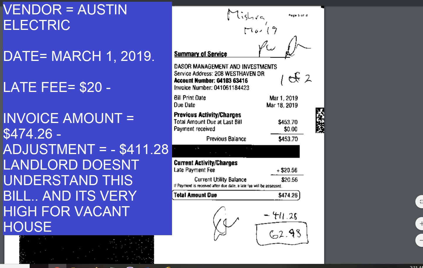 MARCH ELECTRIC BILL - FINAL - LANDLORD DOESNT UNDERSTAND THIS BILL