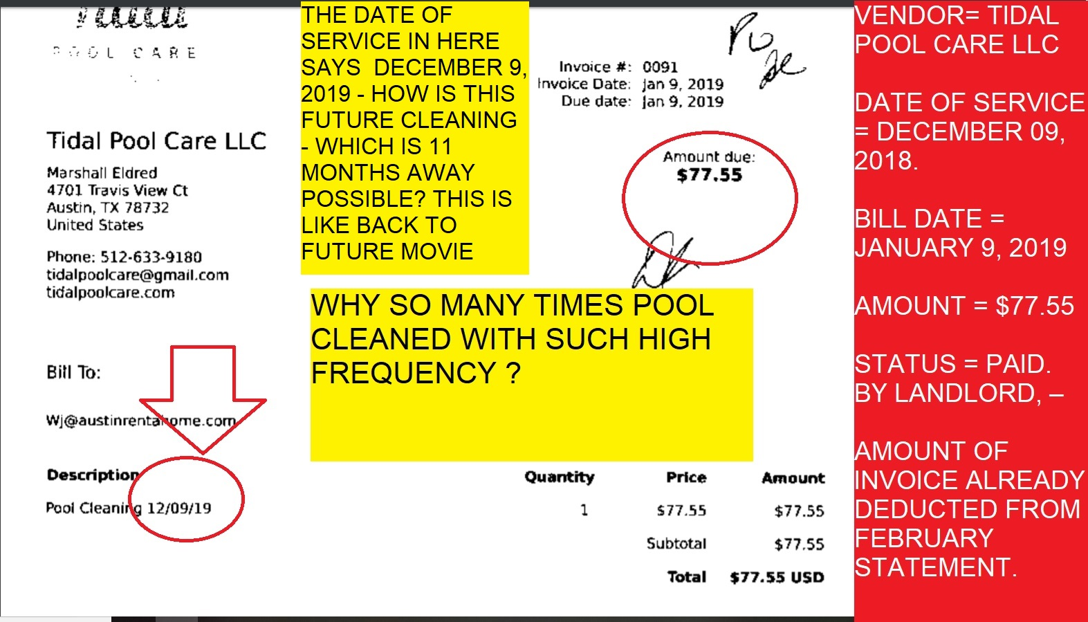POOL TIDAL POOL $77.55 CHARGE FOR DECEMBER 9 2018 CLEANING