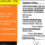 STATUS = PAID BY LANDLORD - FEB RENT DEDUCTION ELECTRIC BILL FOR JANUARY 31, 2019 AMT = $411.28