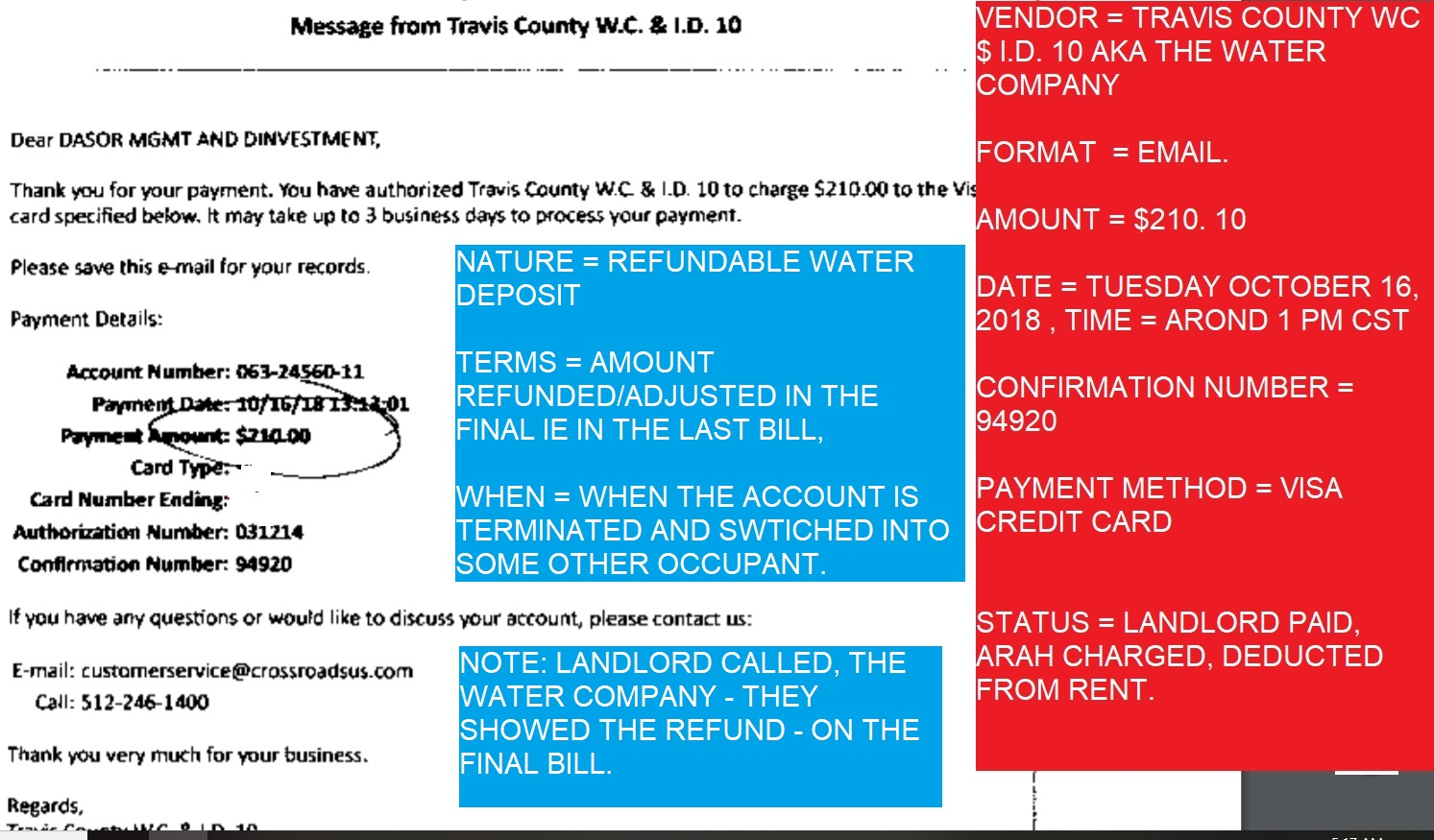 VENDOR = TRAVIS COUNTY WC $ I.D. 10 AKA THE WATER COMPANY THE REFUNDABLE $210.10 WATER CHARGE IS HERE