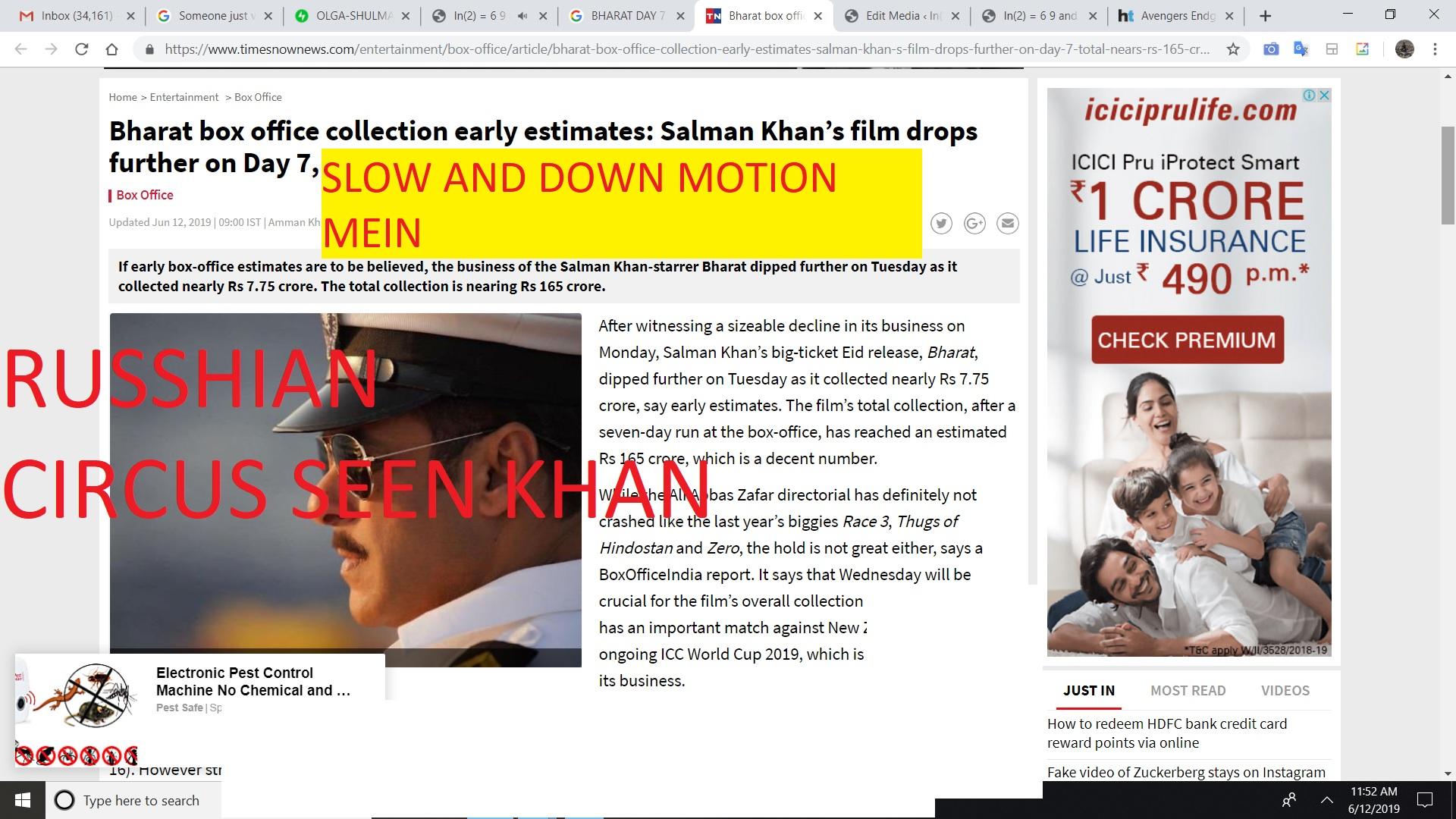 SALMAN KHAN KATRINA KAIF BHARAT SLOW MOTION MEIN DOWN ON DAY 7 DRASTICALLY