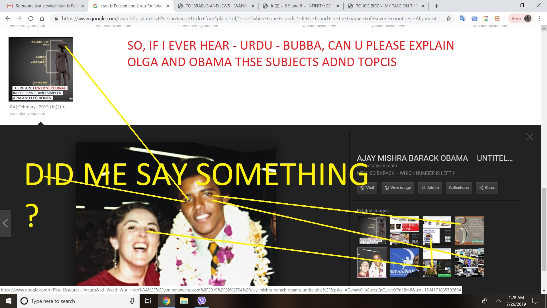 SO, IF I EVER HEAR - URDU - BUBBA, CAN U PLEASE EXPLAIN OLGA AND OBAMA THSE SUBJECTS ADND TOPCIS