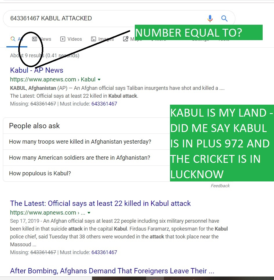 KABUL IS MY LAND - DID ME SAY KABUL IS IN PLUS 972 AND THE CRICKET IS IN LUCKNOW