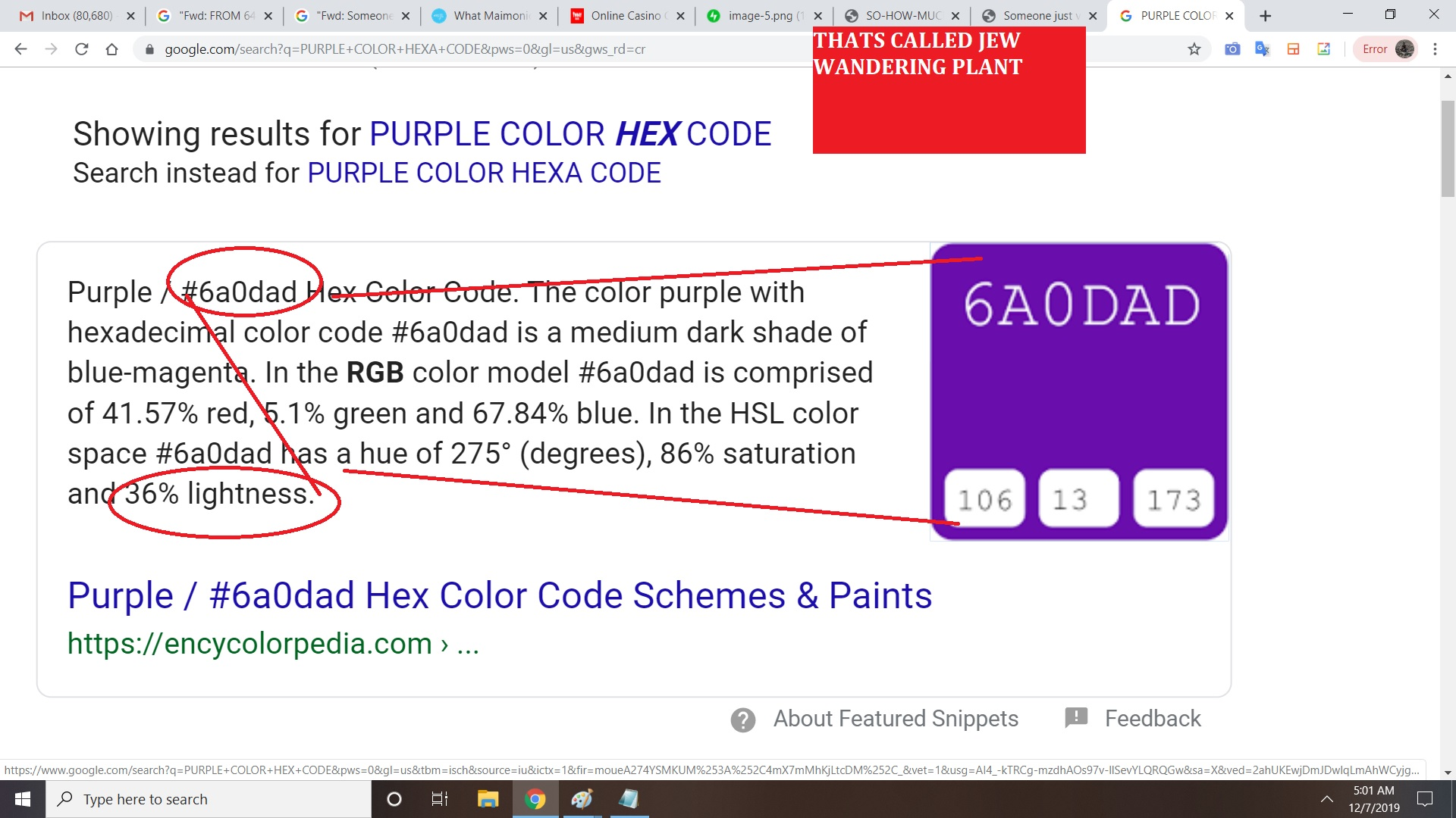 6 A O DAD = THE COLOR OF THE JEW WANDERING PANT AND THE LIGHETNESS DEGREE IS 36 PERCENT
