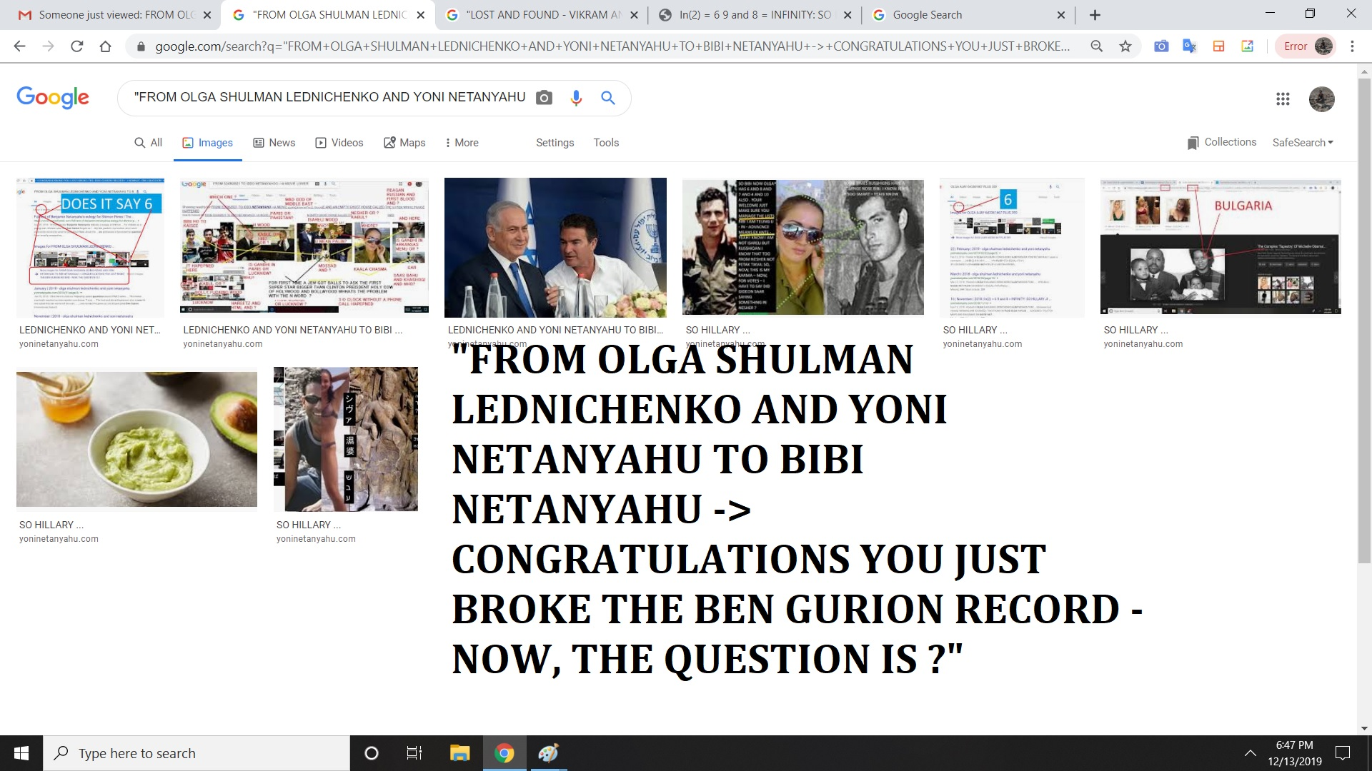 FROM OLGA SHULMAN LEDNICHENKO AND YONI NETANYAHU TO BIBI NETANYAHU CONGRATULATIONS YOU JUST BROKE THE BEN GURION RECORD - NOW, THE QUESTION IS