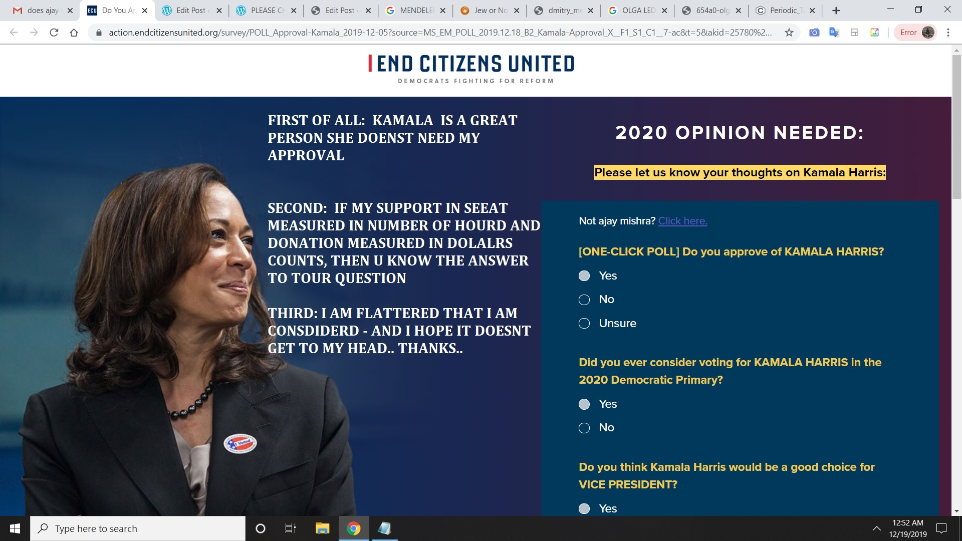 KAMALA HARRIS - REGADSING KAMALA HARRIS MY OPINION - THANKS, AJAY