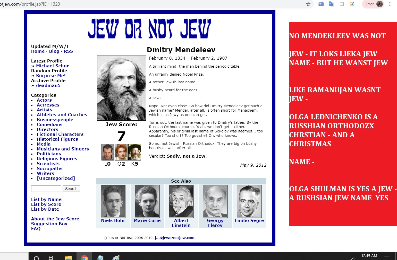 NO DMITRY MENDELEEV WAS NOT JEW, OLGA LEDNCIHENKO IS A CHIRSTIMAS, RUSHSIAN ORTHODOX CHRISTIAN AND CHRSTMAS NAME - ONLY SHULMAN IS JEW WORD OR JEW NAME