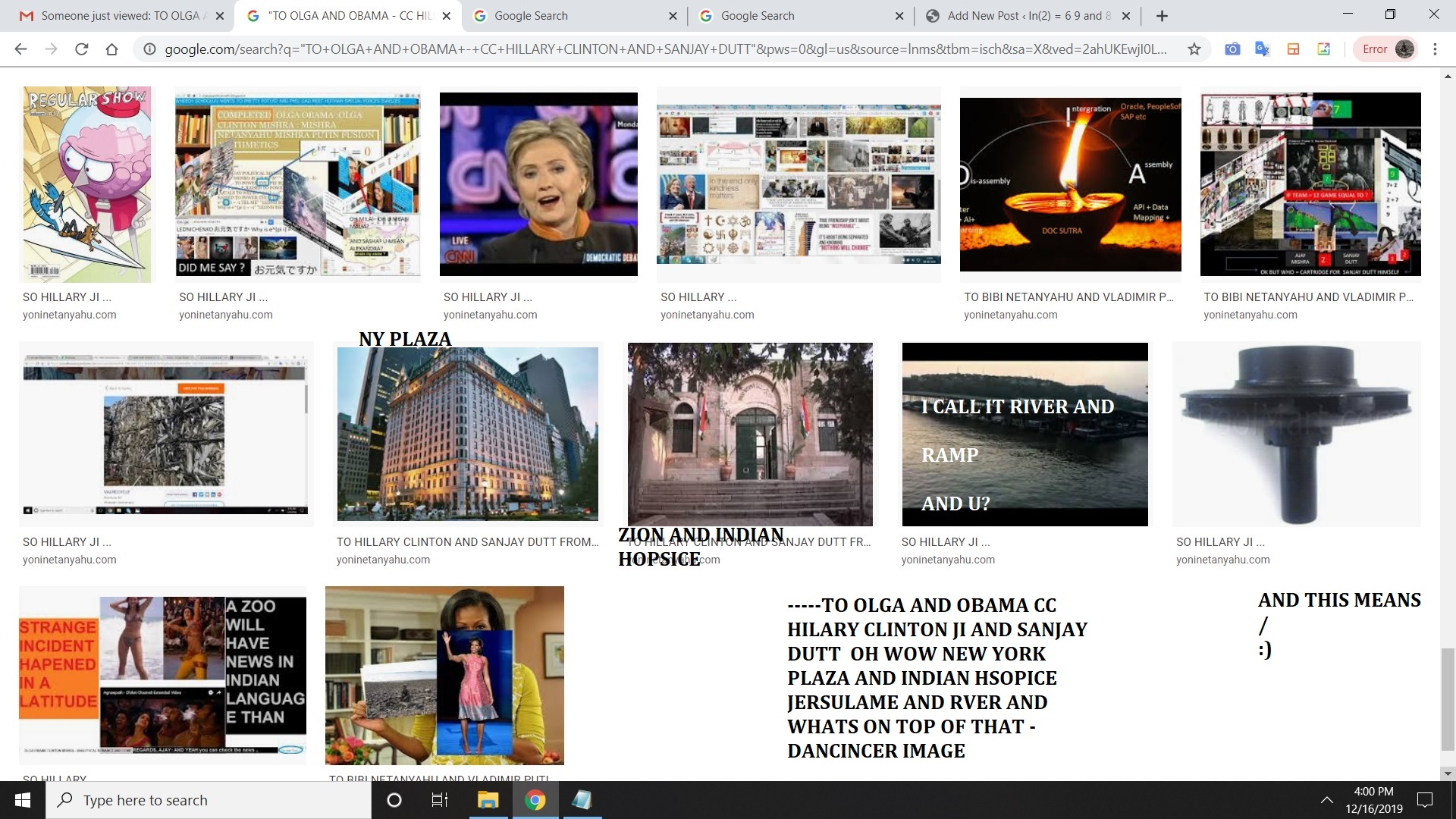 -----TO OLGA AND OBAMA CC HILARY CLINTON JI AND SANJAY DUTT OH WOW NEW YORK PLAZA AND INDIAN HSOPICE JERSULAME AND RVER AND WHATS ON TOP OF THAT - DANCINCER IMAGE