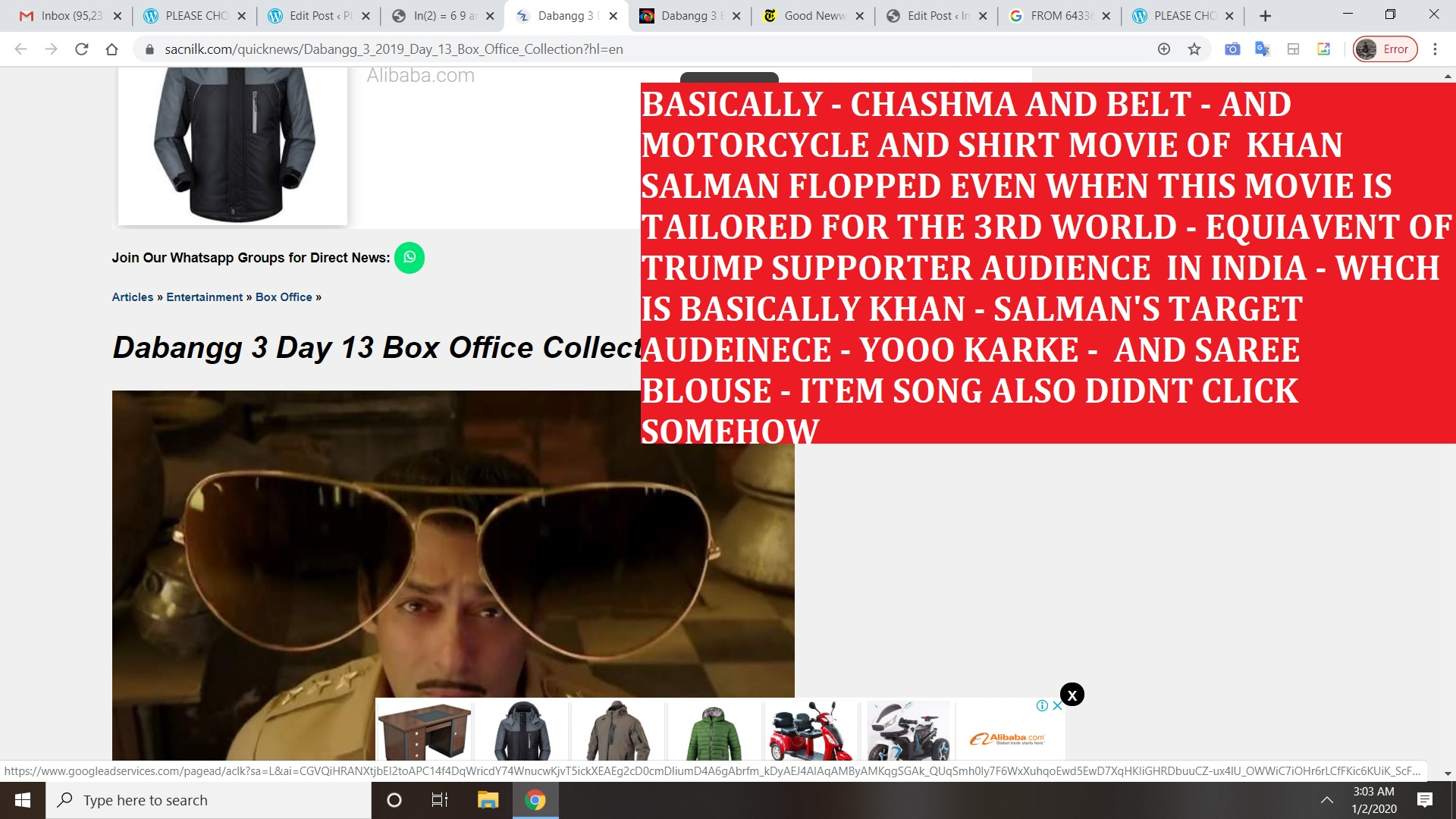 BASICALLY - CHASHMA AND BELT - AND MOTORCYCLE AND SHIRT MOVIE OF KHAN SALMAN FLOPPED EVEN WHEN THIS MOVIE IS TAILORED FOR THE 3RD WORLD - EQUIAVENT OF TRUMP SUPPORTER AUDIENCE IN INDIA -