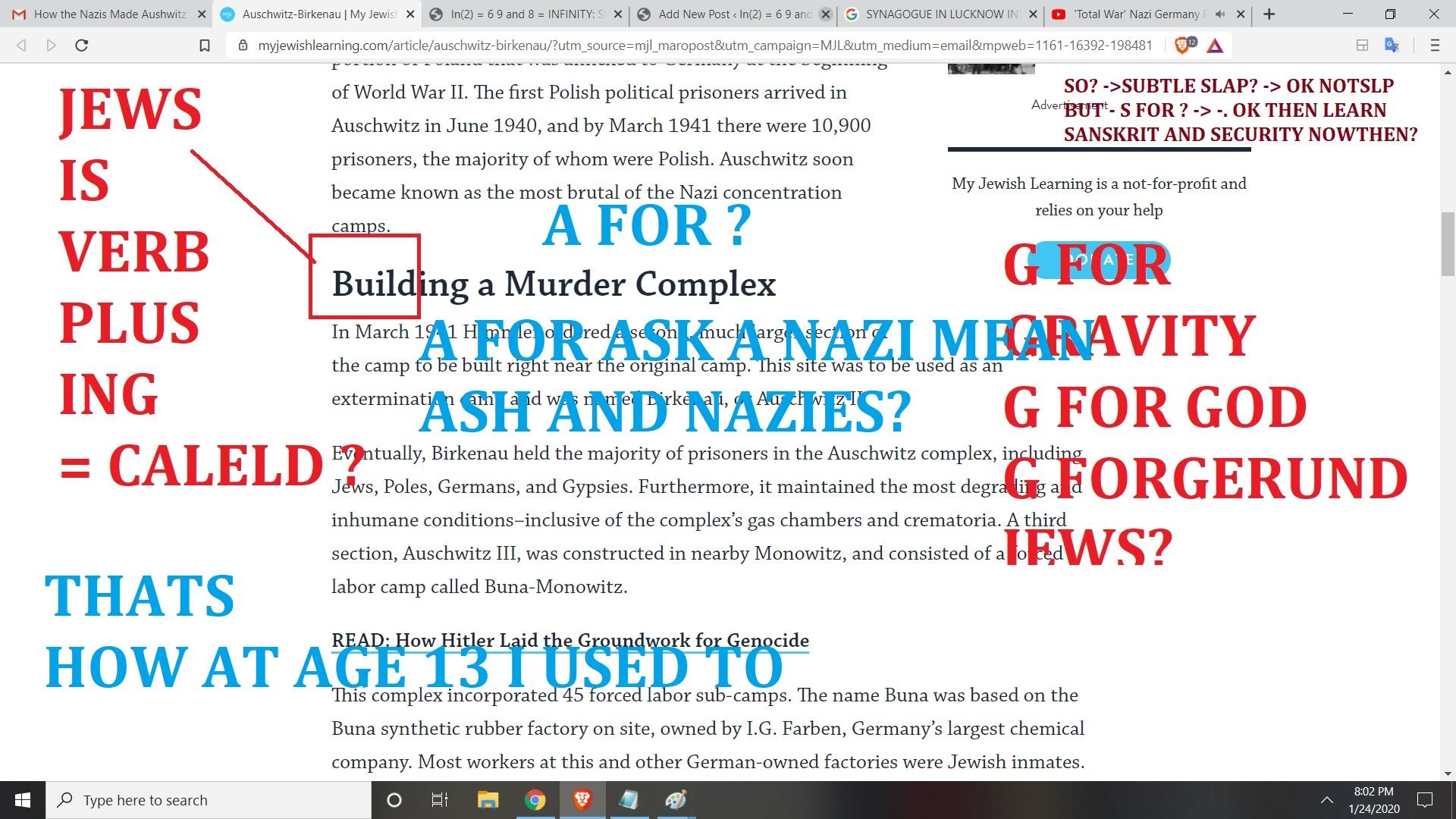 L FOR LANAGUEG J FOR JEWS