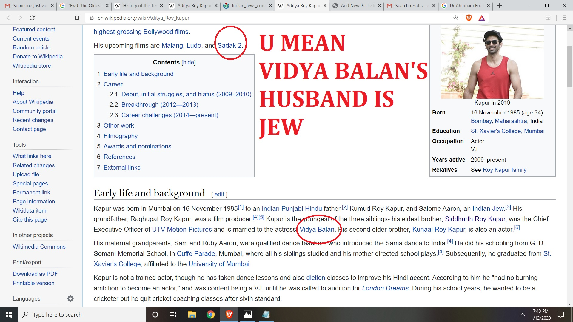 U MEAN VIDYA BALAN'S HUSBAND IS JEW