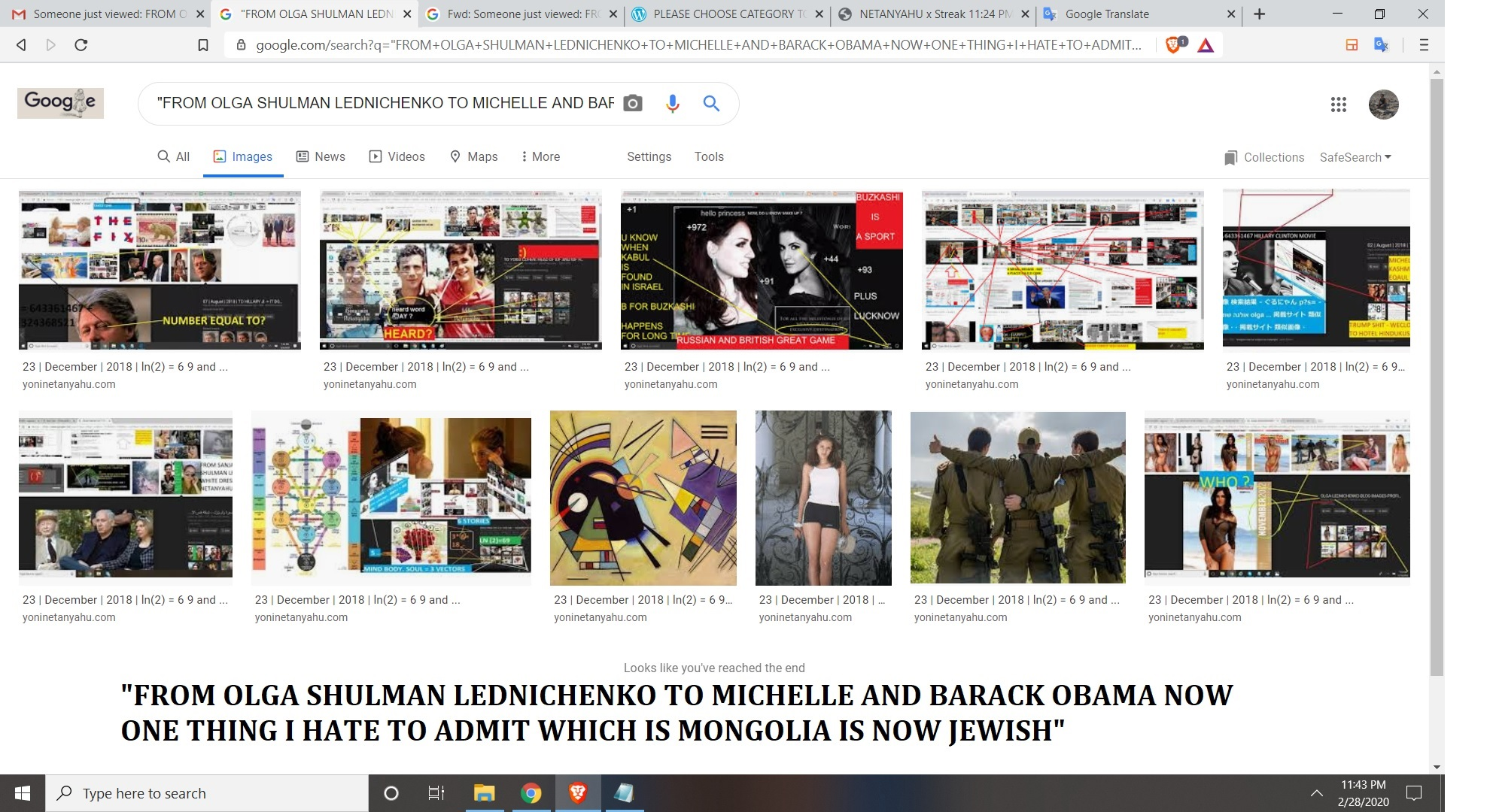 FROM OLGA SHULMAN LEDNICHENKO TO MICHELLE AND BARACK OBAMA NOW ONE THING I HATE TO ADMIT WHICH IS MONGOLIA IS NOW JEWISH