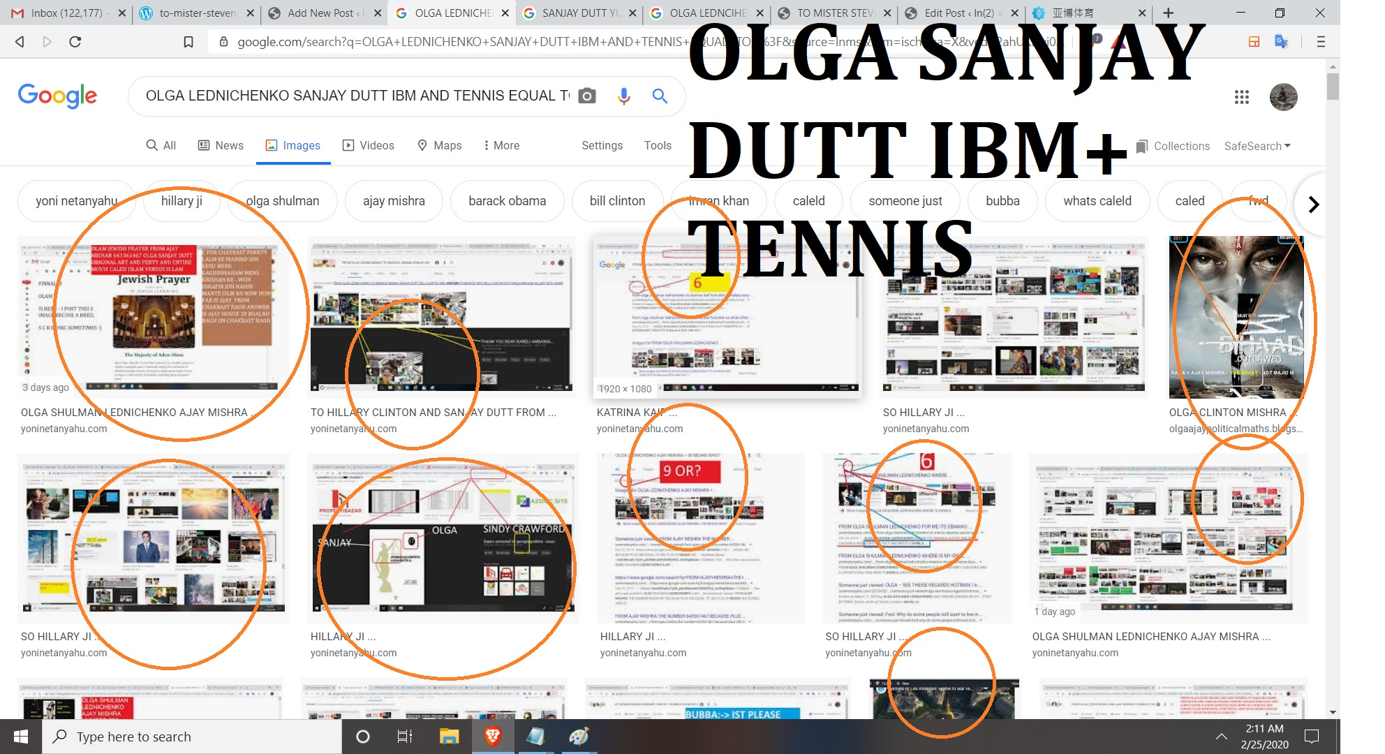 OLGA LEDNCIHENKO SANJAY DUTT IBM AND TENNIS --