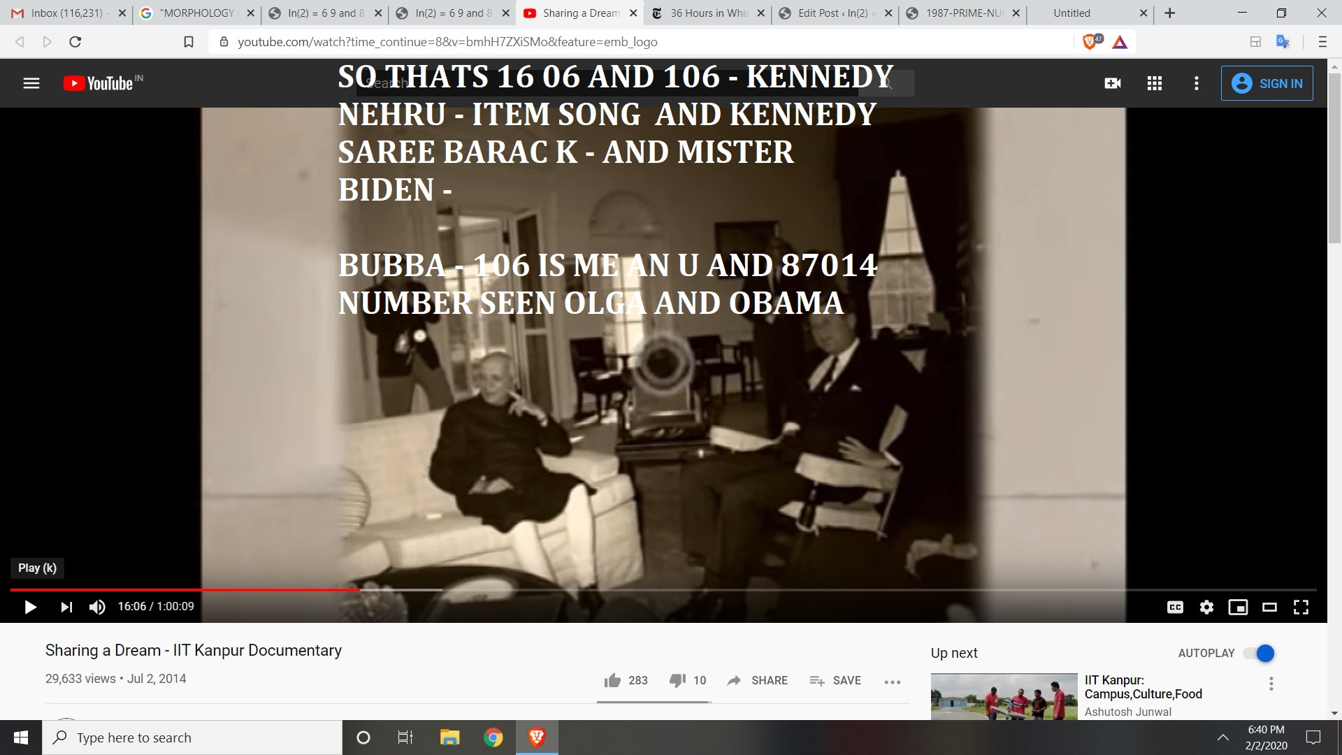 SO THATS 16 06 AND 106 - KENNEDY NEHRU - ITEM SONG AND KENNEDY SAREE BARAC K - AND MISTER BIDEN -