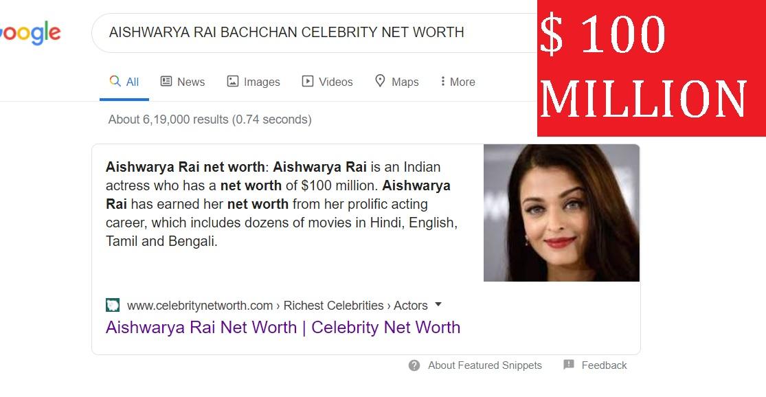 AISHWARYA RAI BAHCCHAN NET WORTH