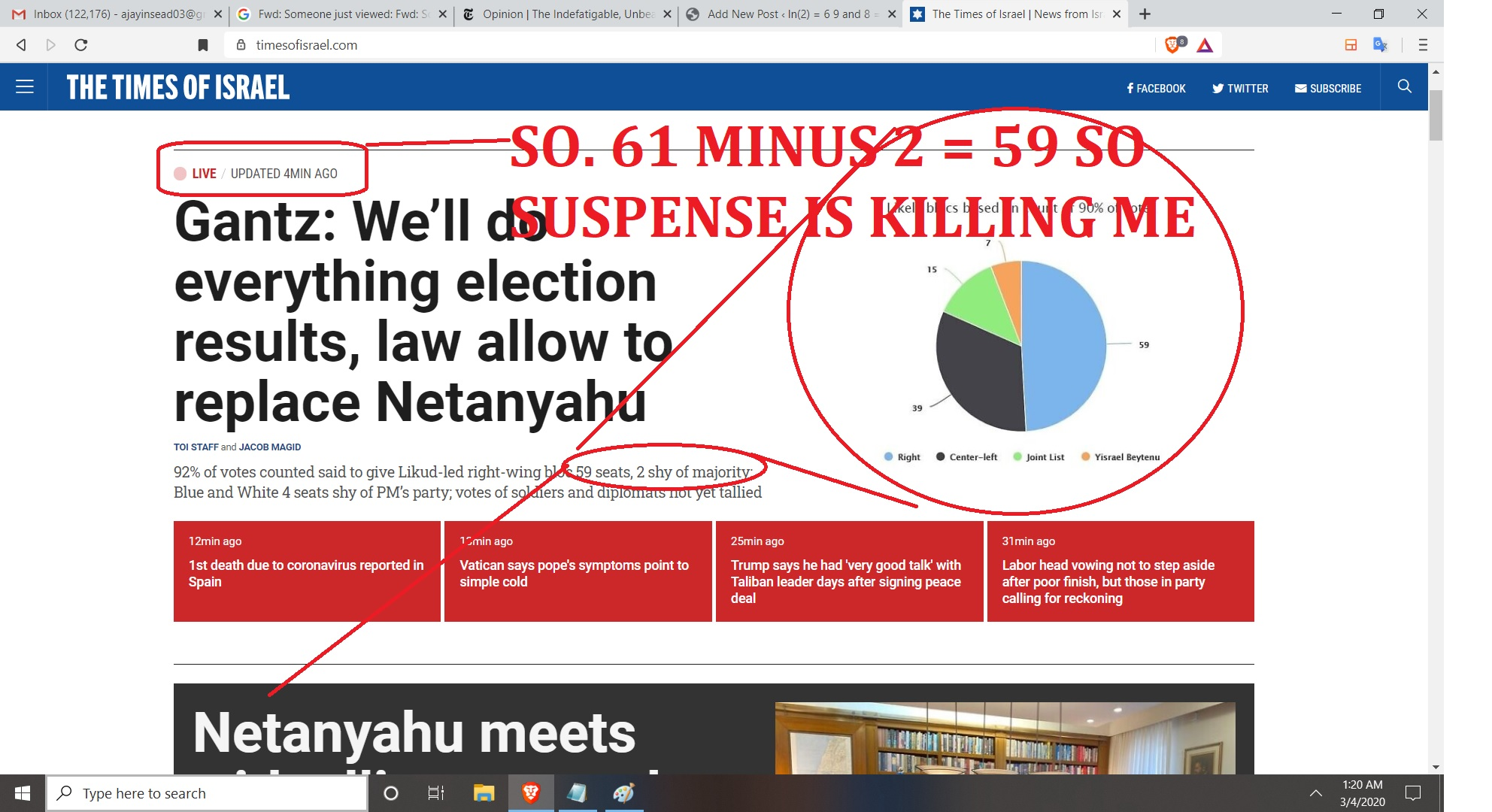 BUT WHATS THE LATEST NUMBERS IN OPLUS 972 FOR NETANAYHU - REGARDS OLGA LEDNCIHENKO AND AJAY