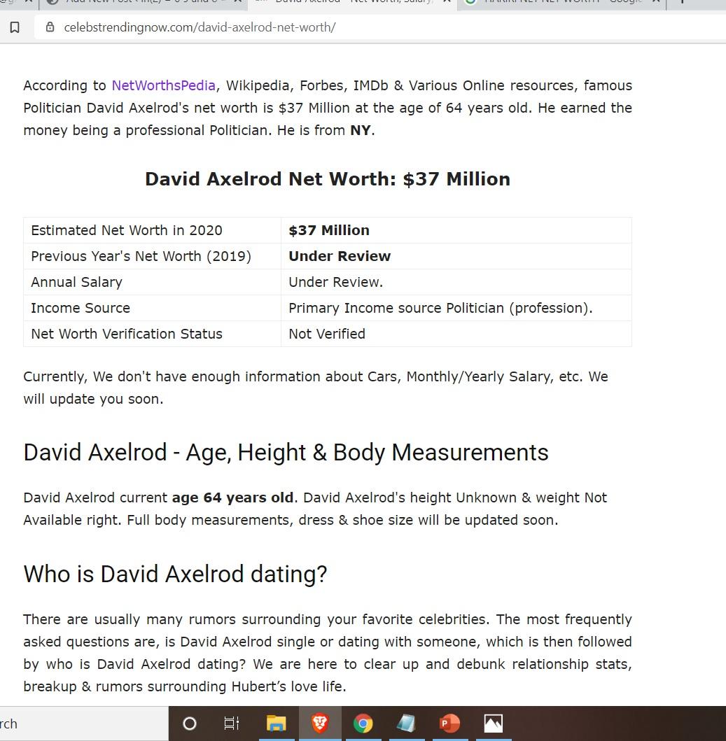 DAVID AXELROD NET WORTH