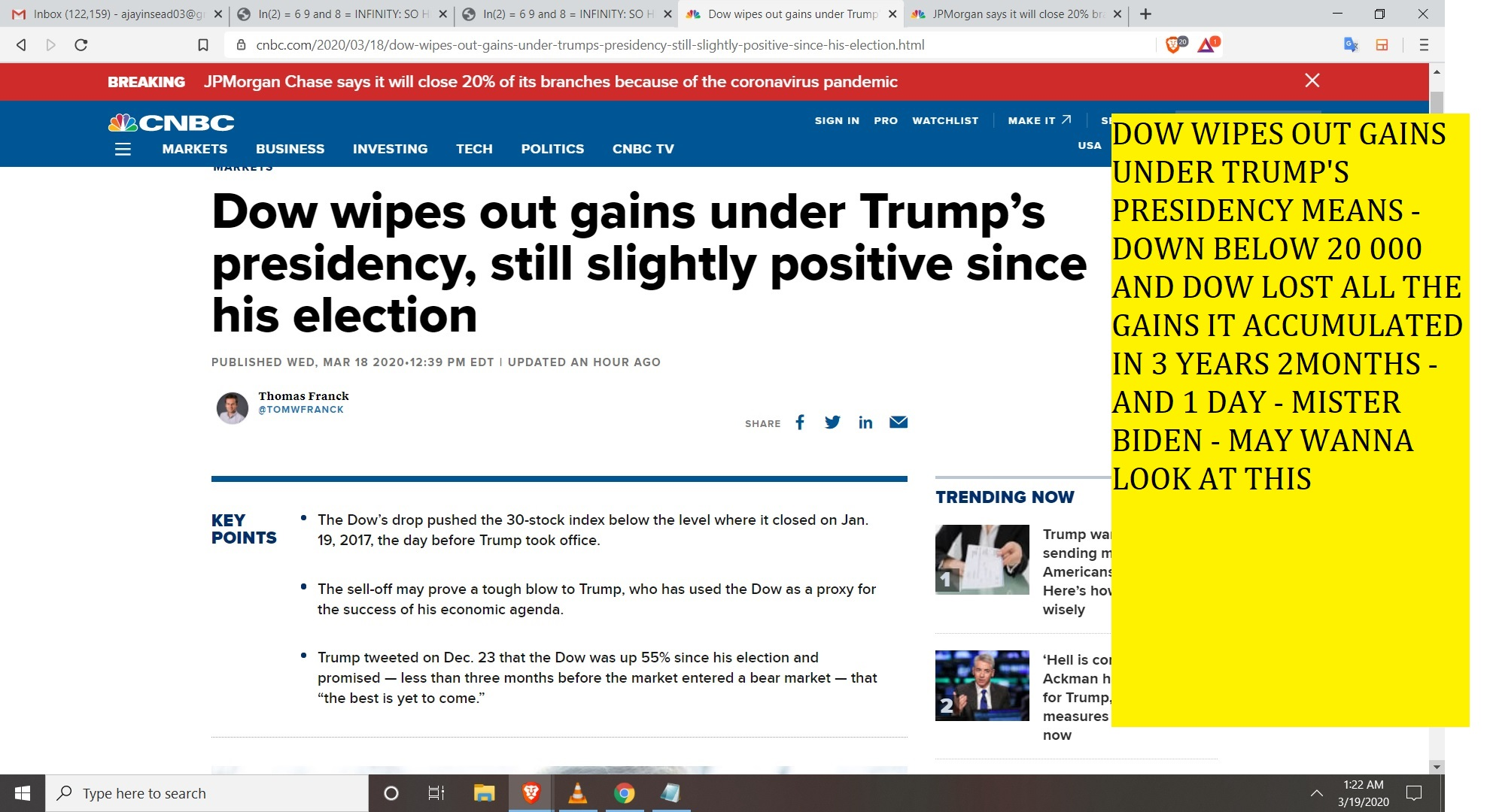 DOW WIPES OUT GAINS UNDER TRUMP'S PRESIDENCY MEANS - DOWN BELOW 20 000 AND DOW LOST ALL THE GAINS IT ACCUMULATED IN 3 YEARS 2MONTHS - AND 1 DAY - MISTER BIDEN - MAY WANNA LOOK AT THIS