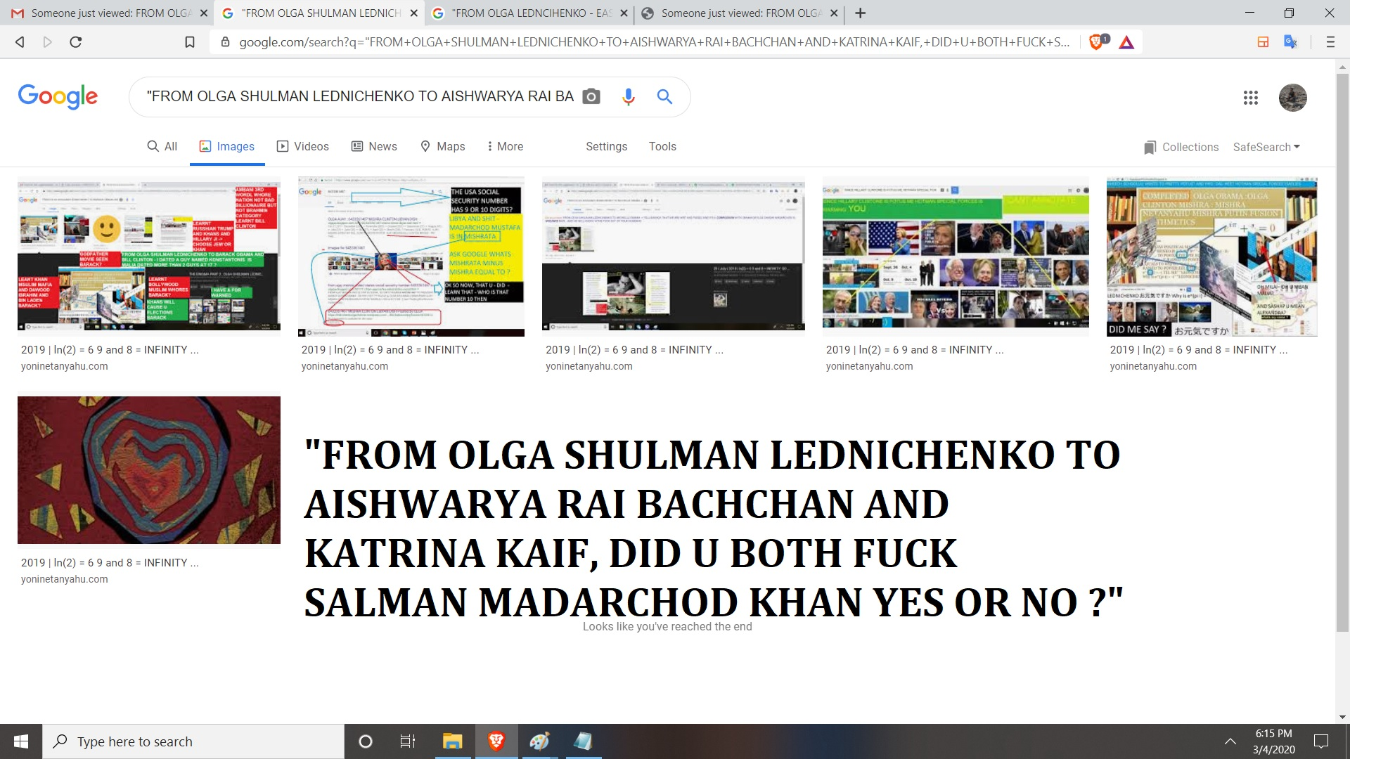 FROM OLGA SHULMAN LEDNICHENKO TO AISHWARYA RAI BACHCHAN AND KATRINA KAIF, DID U BOTH FUCK SALMAN MADARCHOD KHAN YES OR NO