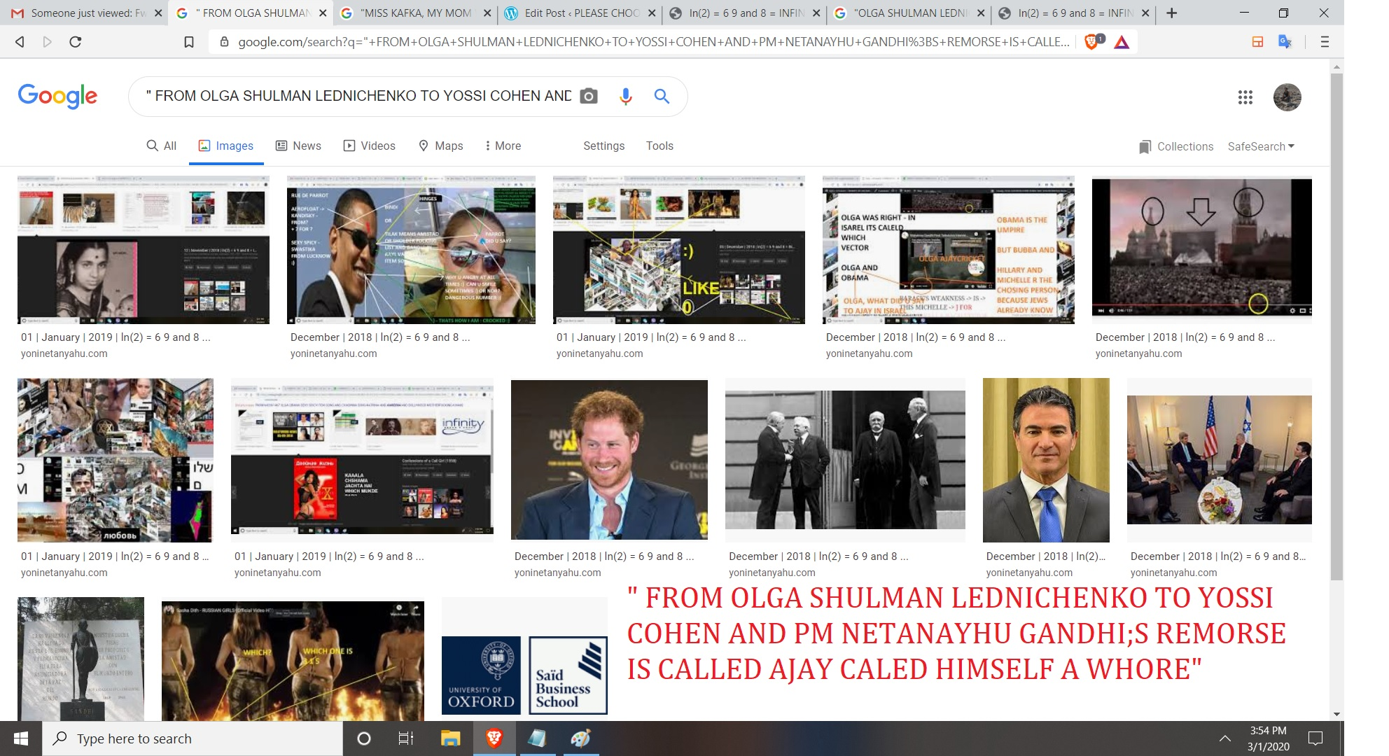 FROM OLGA SHULMAN LEDNICHENKO TO YOSSI COHEN AND PM NETANAYHU GANDHI;S REMORSE IS CALLED AJAY CALED HIMSELF A WHORE
