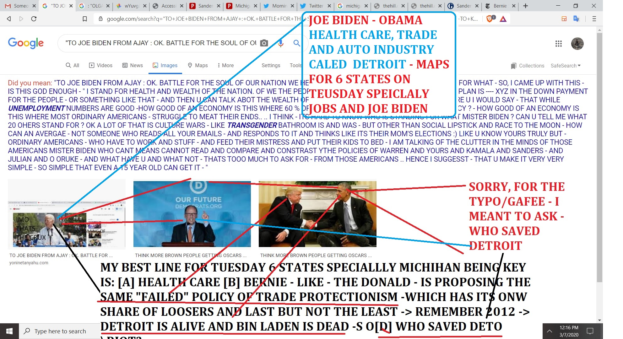 JOE BIDEN - OBMAA HEALTH CARE, TARDE AND AUTO INDURTY CALED DETROIT - MAPS FOR 6 STATES ON TEUSDAY SPEICLALY JOBS AND JOE BIDEN