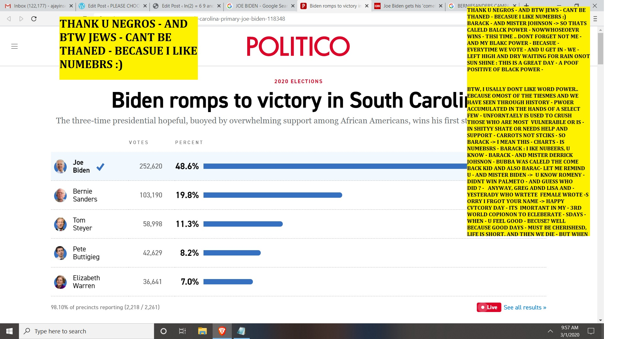 JOE BIDEN WINS - SOUT CAROLINA