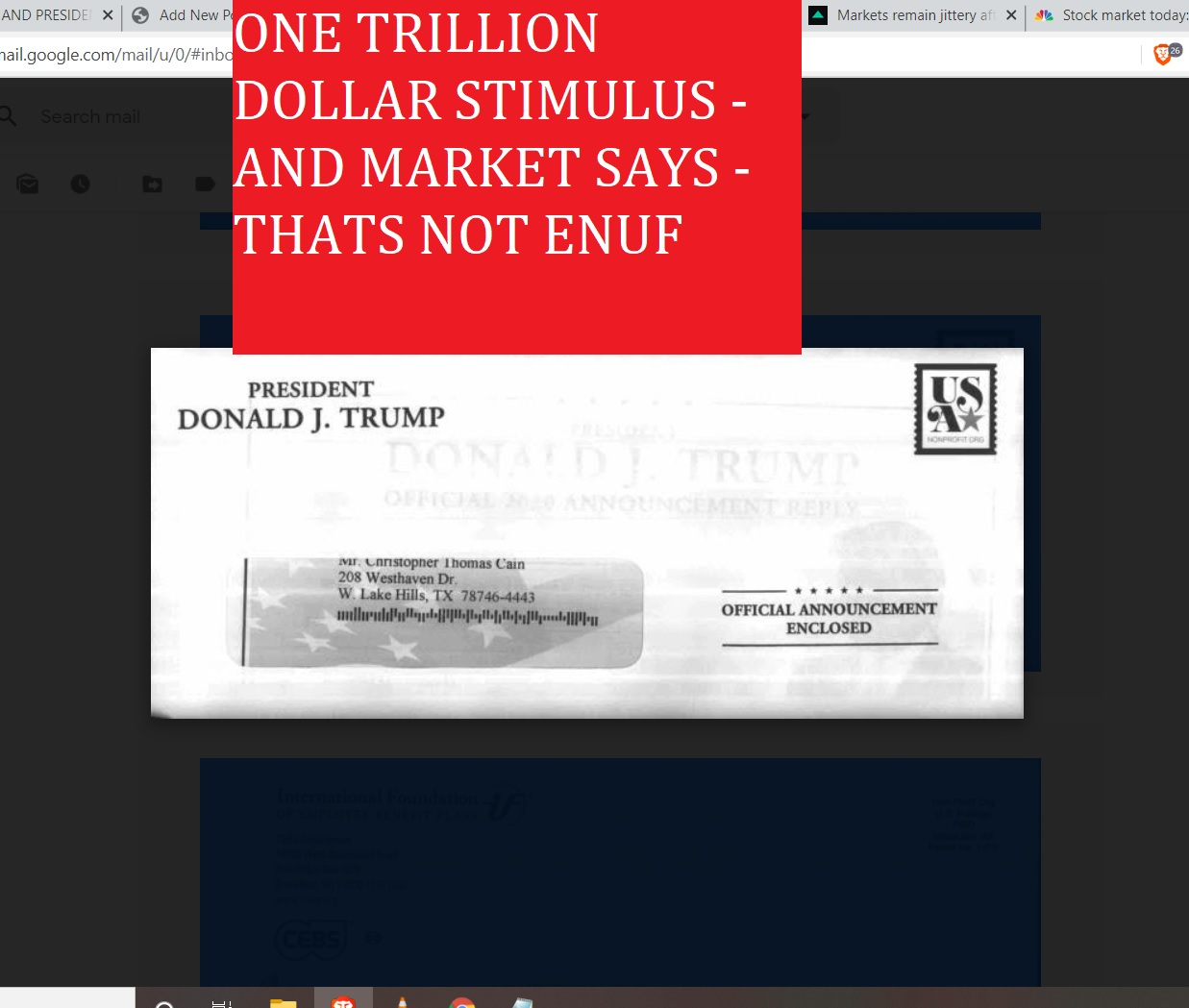 ONE TRILLION DOLAR STIMULUS AND MARKET SAYS THATS NOT ENUF - MARACH 18 2002 DONALD TRUMP AND CV