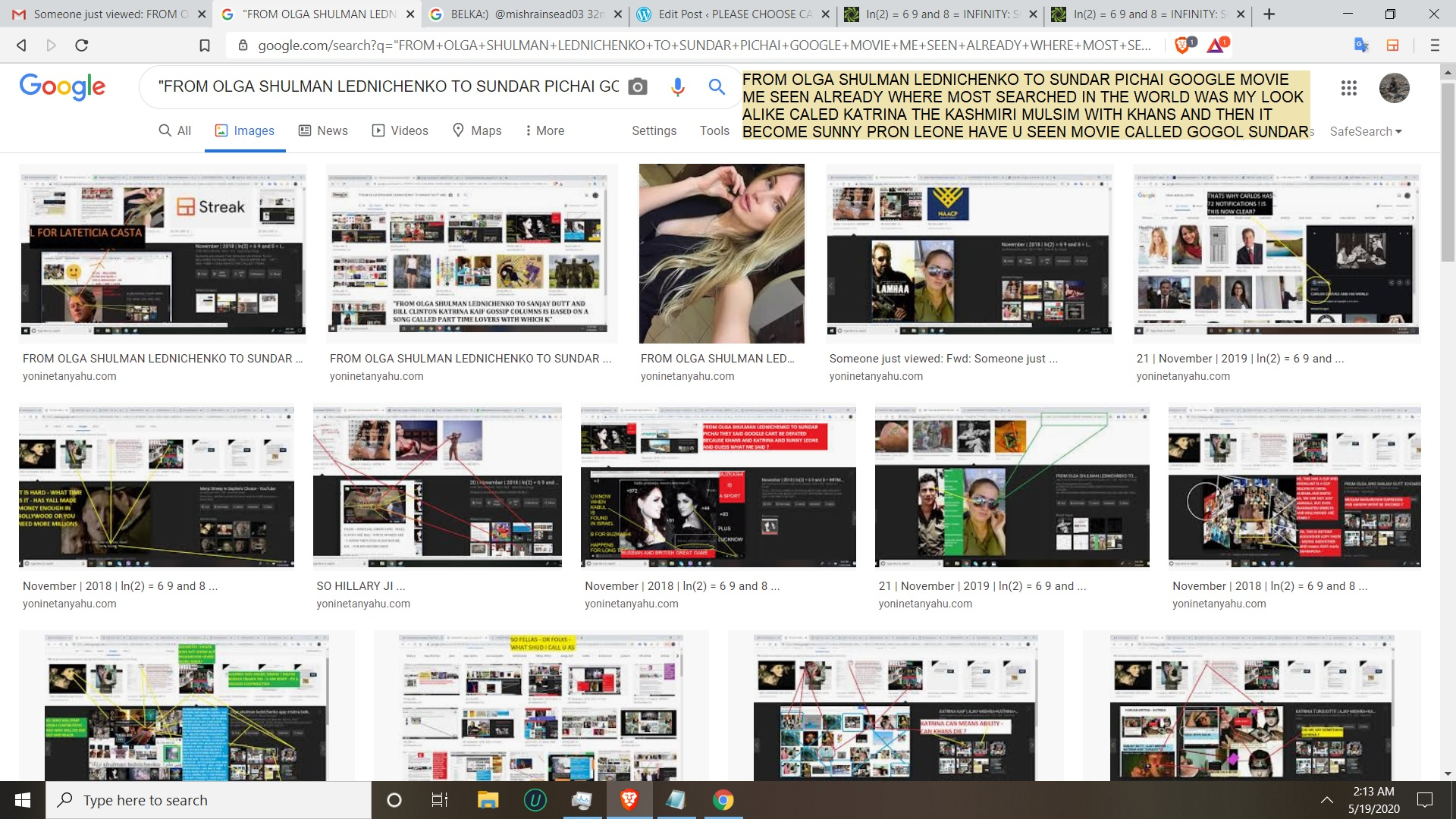 FROM OLGA SHULMAN LEDNICHENKO TO SUNDAR PICHAI GOOGLE MOVIE ME SEEN ALREADY WHERE MOST SEARCHED IN THE WORLD WAS MY LOOK ALIKE CALED KATRINA THE