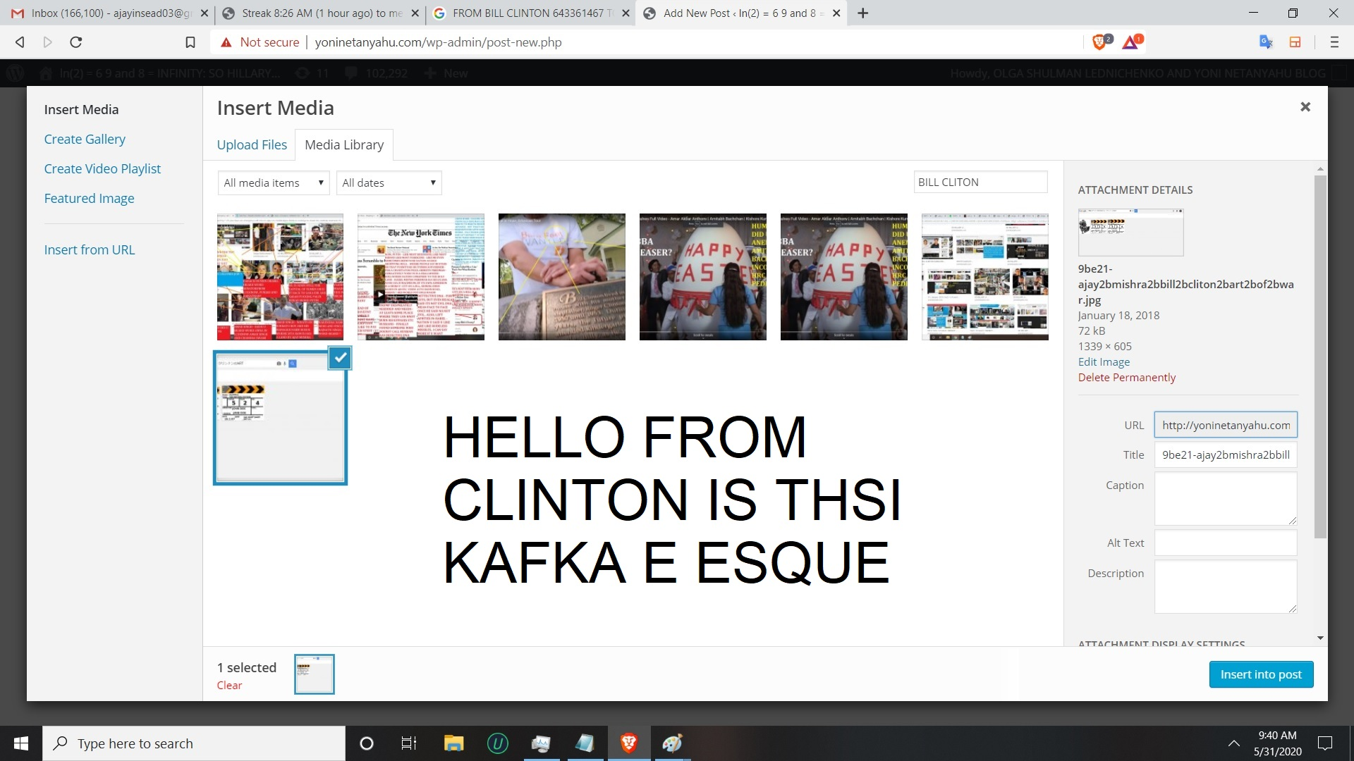 HELLO FROM CLINTON IS THSI KASFAKE ESQUE