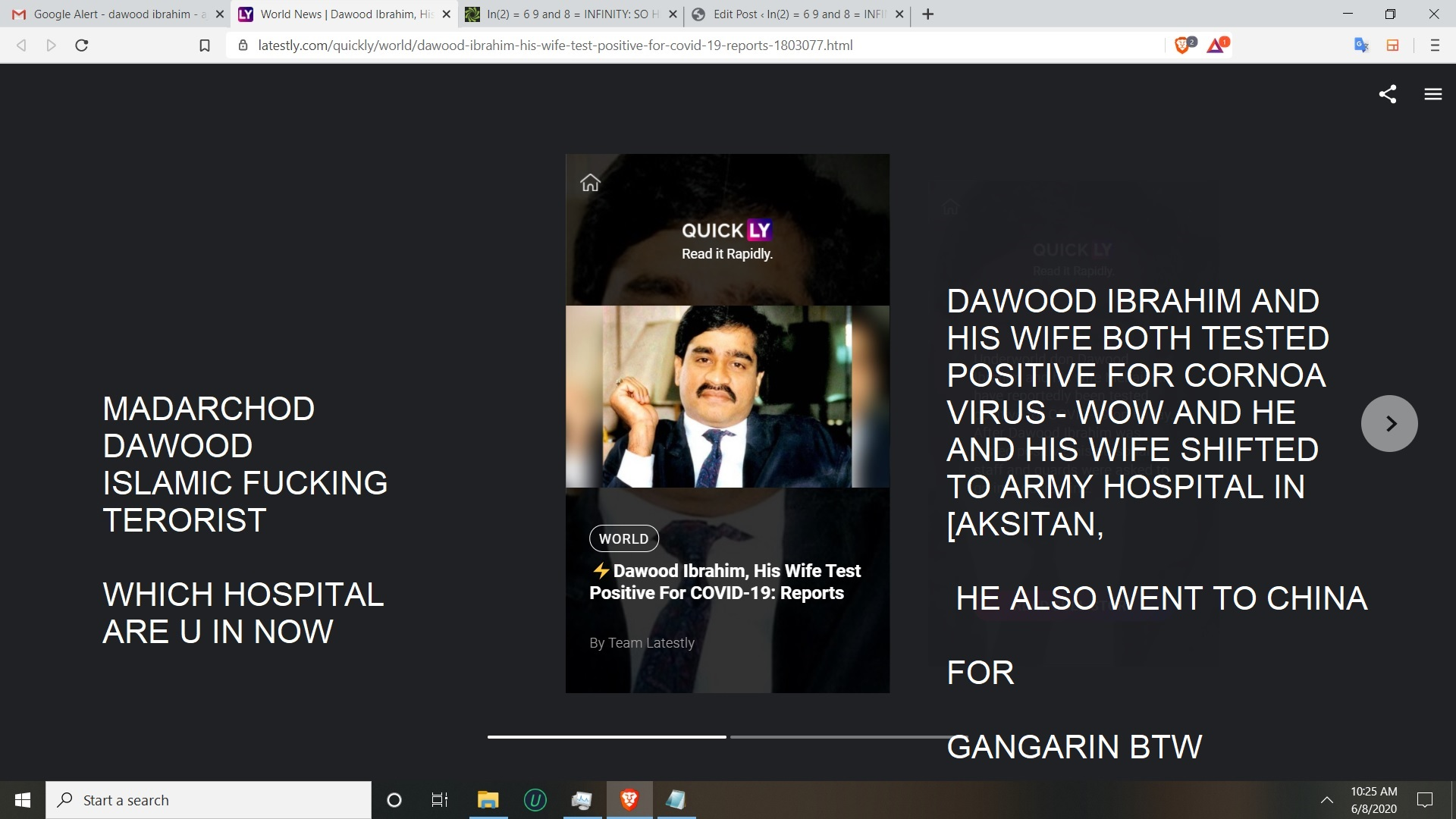 DAWOOD IBRAHIM AND HIS WIFE BOTH TESTED POSITIVE FOR CORNOA VIRUS - WOW AND HE AND HIS WIFE SHIFTED TO ARMY HOSPITAL IN [AKSITAN, HE ALSO WENT TO CHINA FORGANGARUN BTW