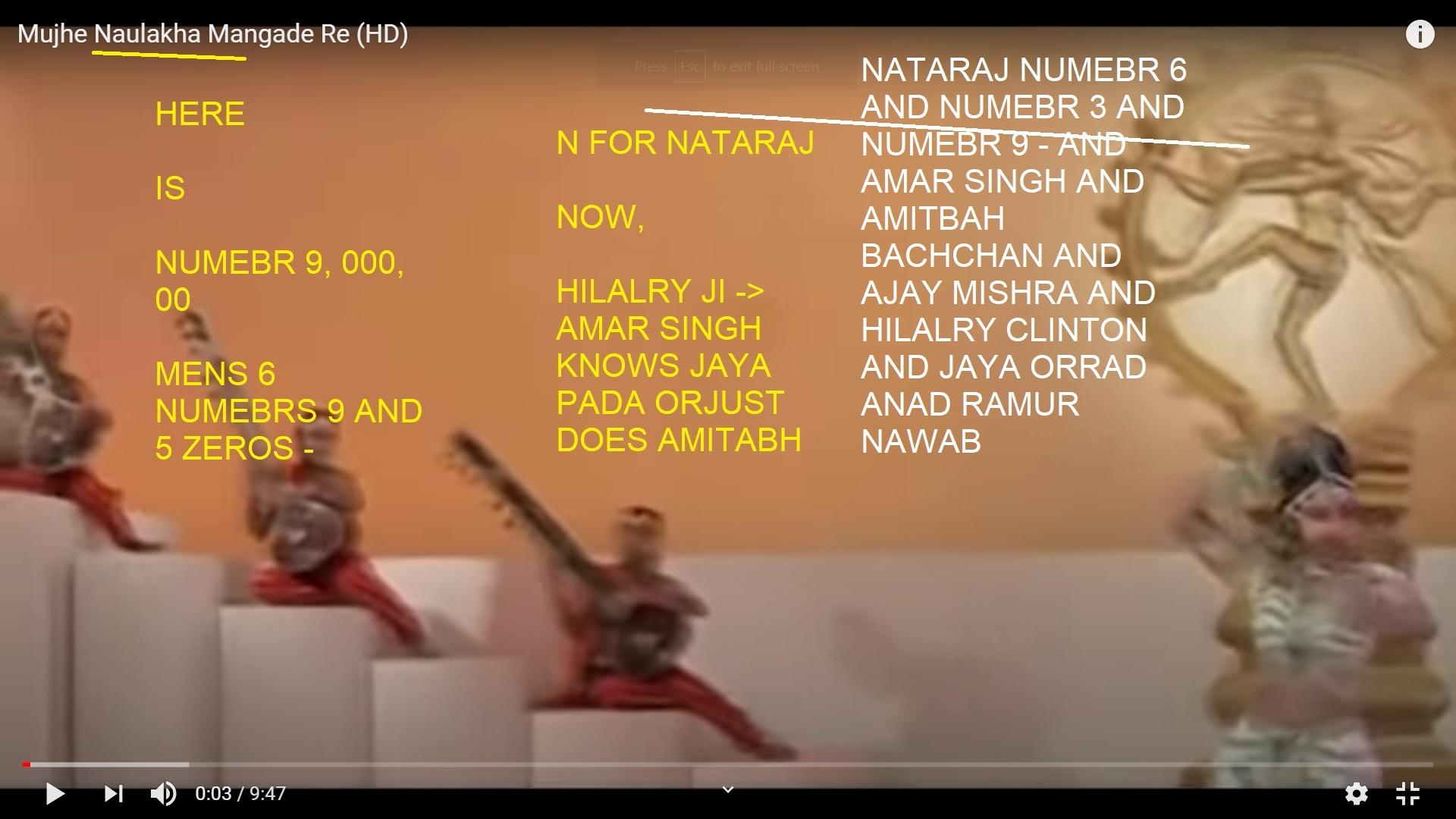 NATARAJ NUMEBR 6 AND NUMEBR 3 AND NUMEBR 9 - AND AMAR SINGH AND AMITBAH BACHCHAN AND AJAY MISHRA AND HILALRY CLINTON AND JAYA ORRAD ANAD RAMUR NAWAB
