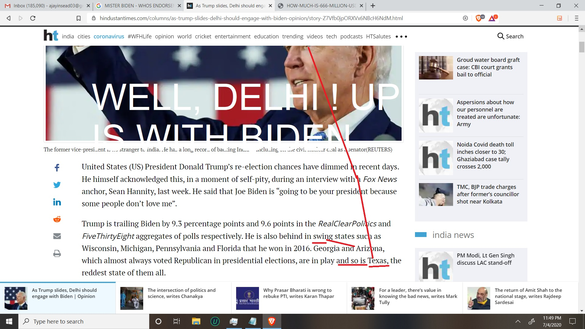 OH BIDEN AND INDIA IN HINDUSTAN TIMES - HELLOMISTER BIDEN SO, DELHI IS THINKING HMM.. WELL NARENDRA IF WE WIN THEN YOU HAVE TWITETR